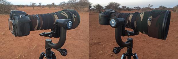 Nikon 400 f/2.8 VR & D810 mounted onto the PH-20 Gimbal.