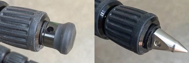 Interchangeable feet – rubber or spike.