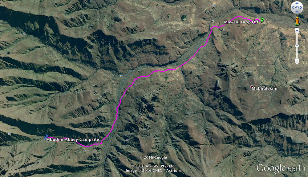Our hiking trail mapped out in pink.