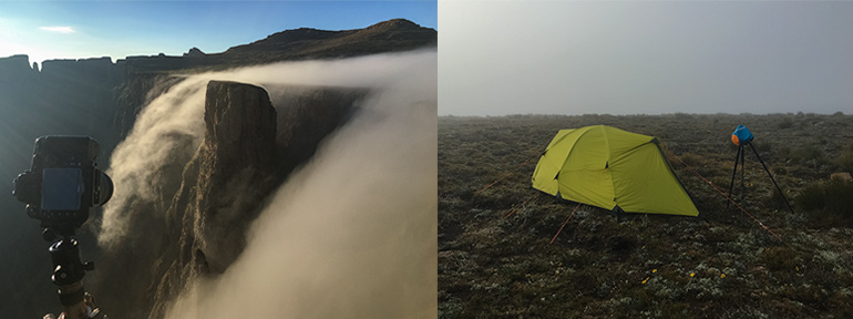 iPhone images of the amazing falling mist, and a very misty Ribbon Falls campsite upon our return after the sunrise session.