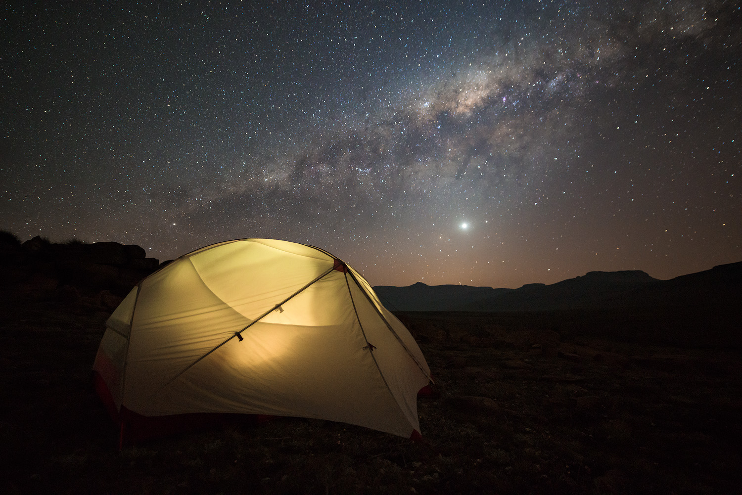 MSR Hubba Hubba NX Milky Way Tent camping adventure Milky Way star night sky nocturnal landscape photo Drakensberg Amphitheatre