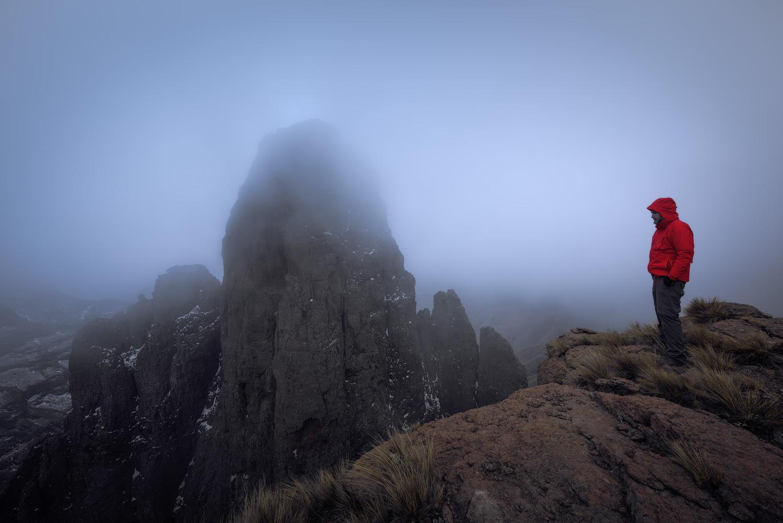 Self Portrait Drakensberg Mnweni Mponjwane Snow Mist Mountain Adventure Landscape Photo Jacket Red Hike Hiking