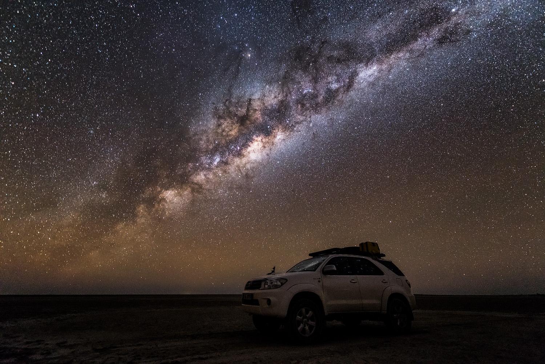 Kubu Island Star Vehicle Toyota Fortuner Milky Way Night Photography Botswana Makgadikgadi Photo