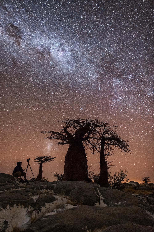 star Milky Way night photography self portrait vertical landscape photo kudu island Makgadikgadi pans Botswana baobab south island
