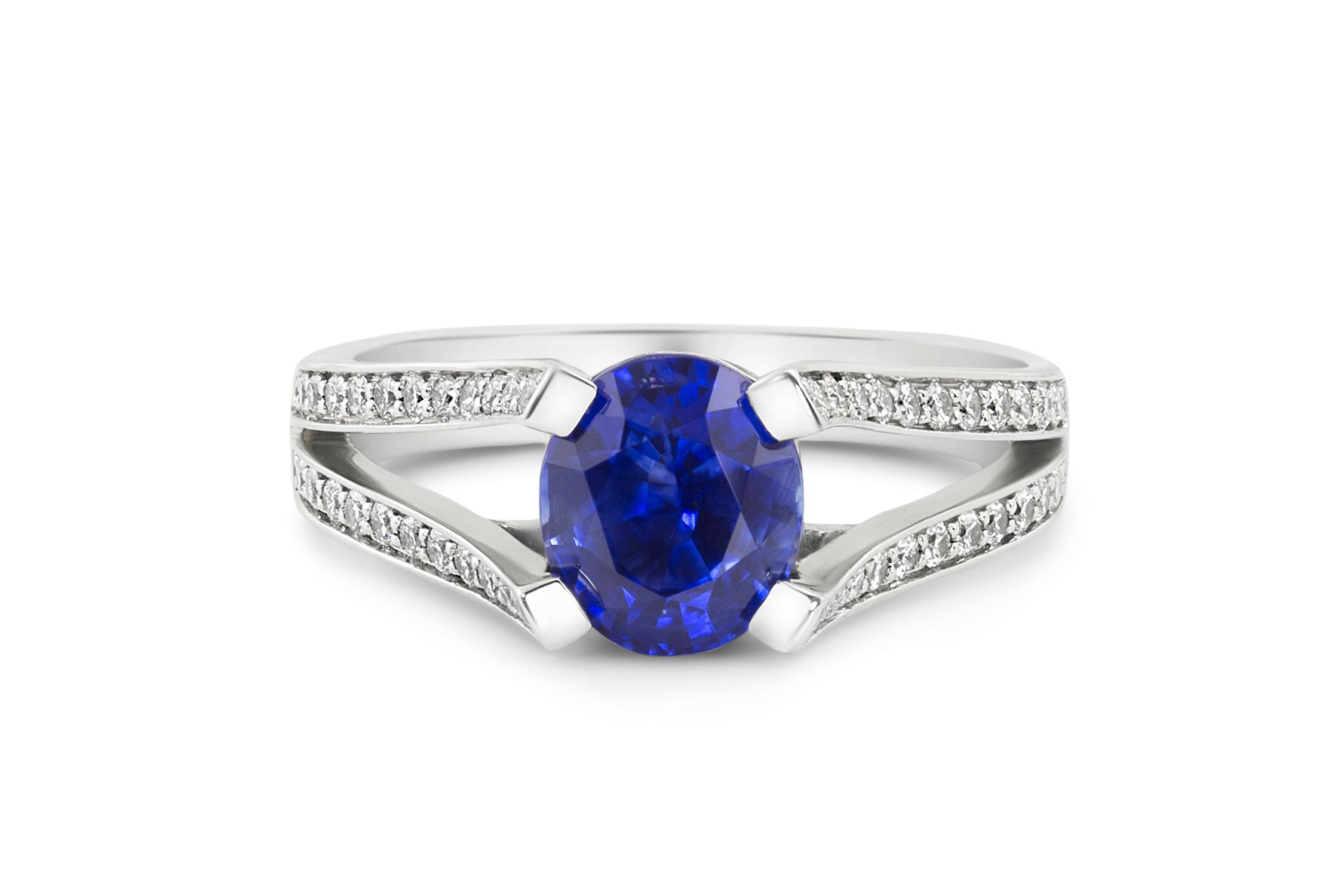 Platinum, diamond and sapphire ring ~ Ann Elizabeth Jewelry ~ 2.03ct Oval Brilliant Sapphire from Madagascar