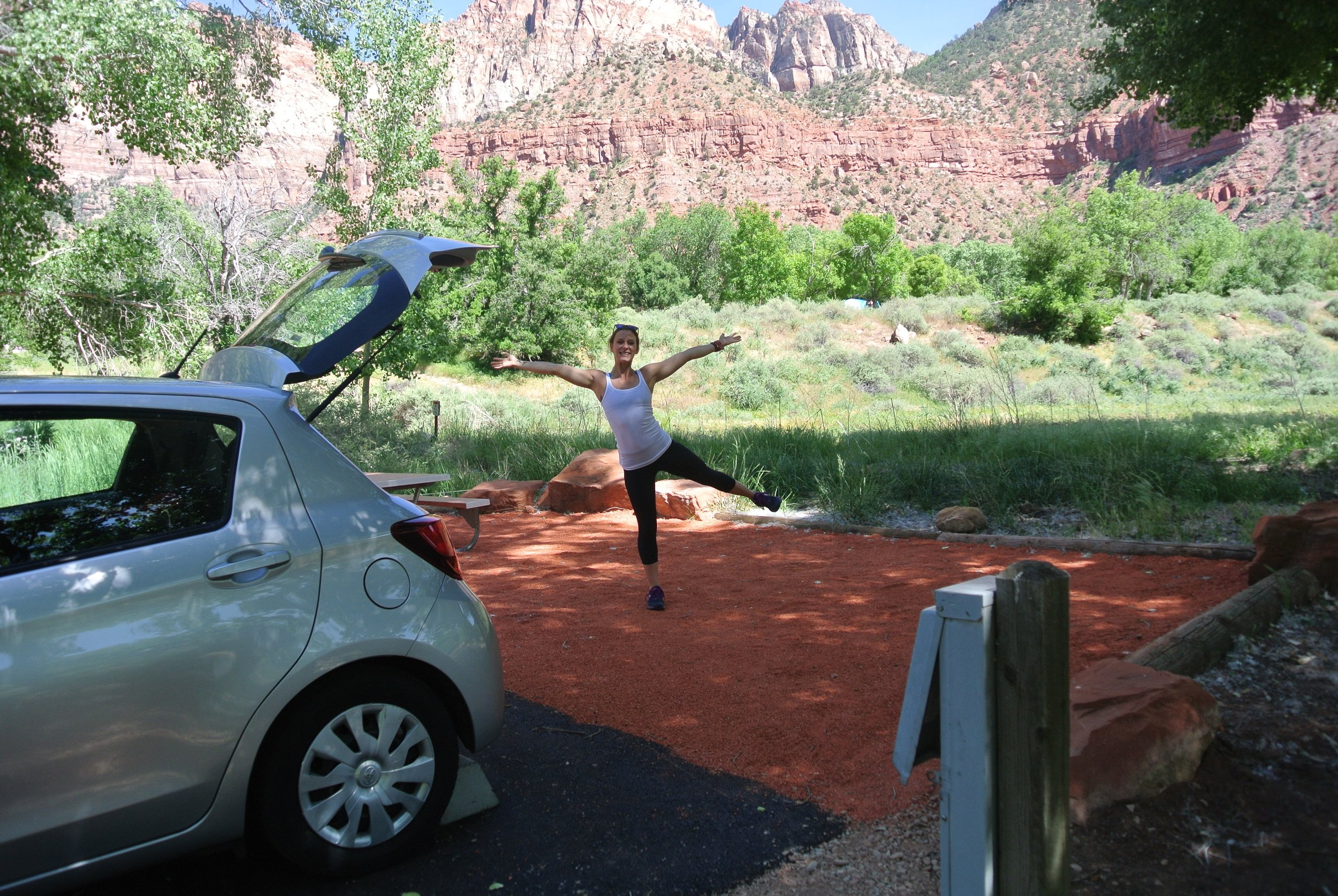 You'll soon learn this is my go-to signature pose. Watchman Campground, Zion National Park.
