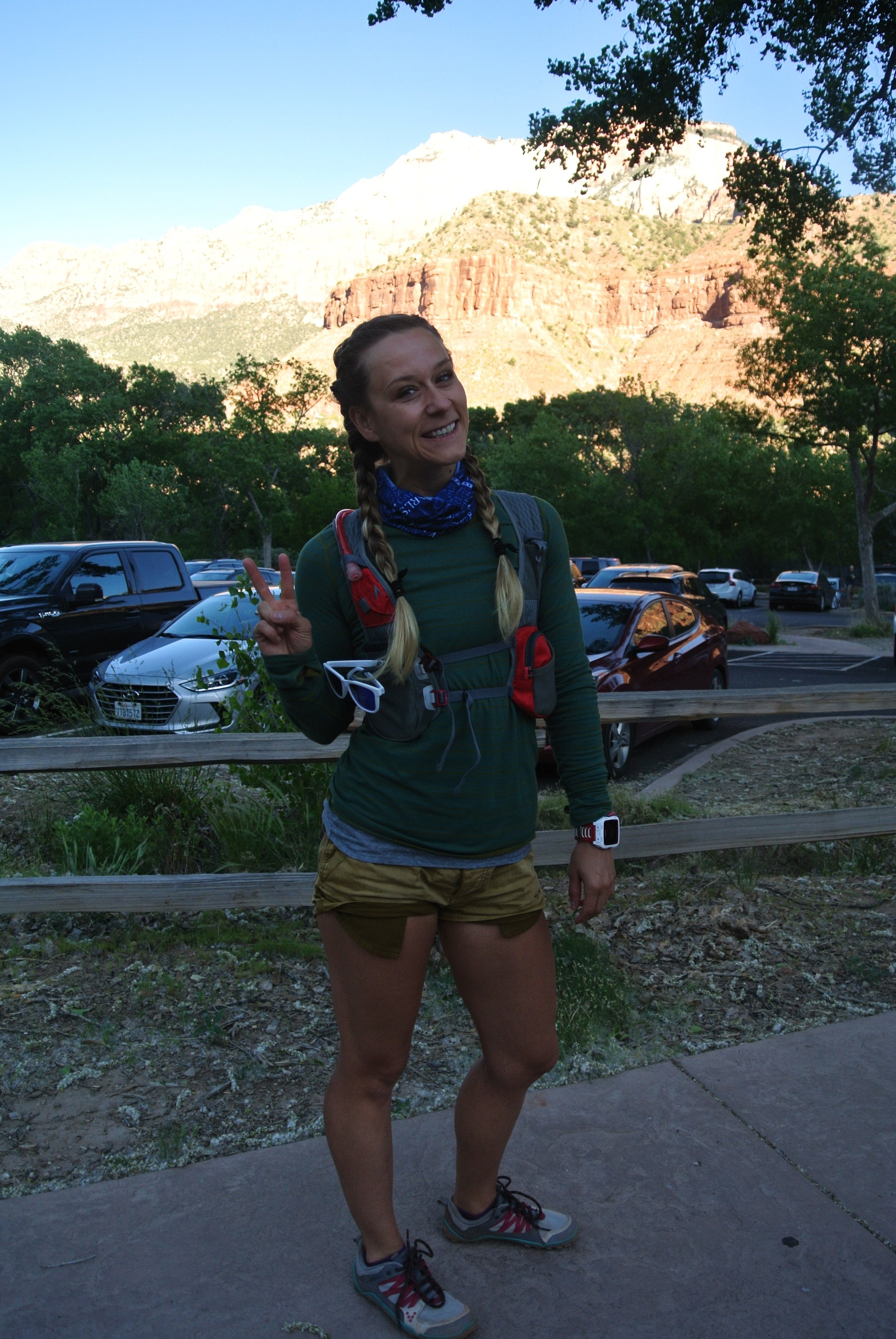 This photo brought to you by dirty hair. Visitor's Center, Zion National Park.
