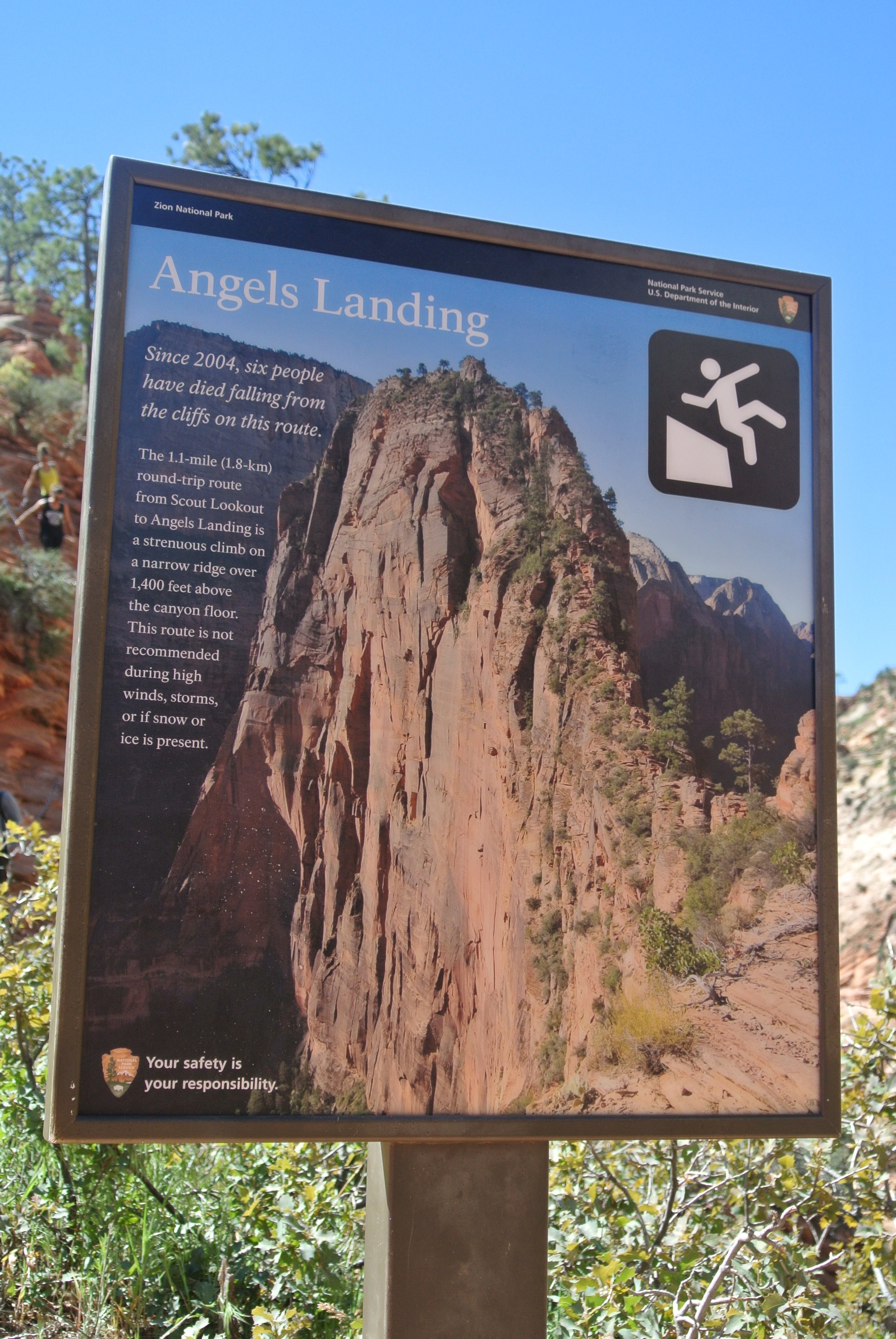 That stick man is not sitting, folks.Angel's Landing, Zion National Park.