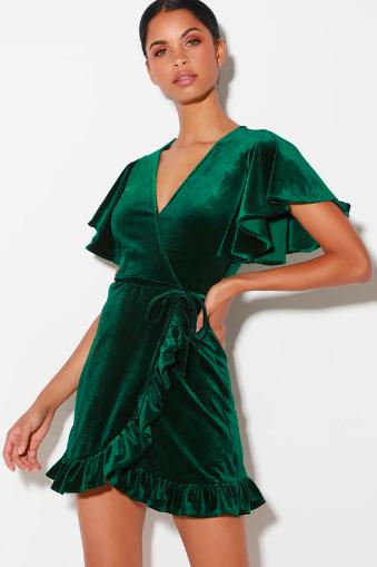 WEST VILLAGE DARK GREEN VELVET WRAP DRESS