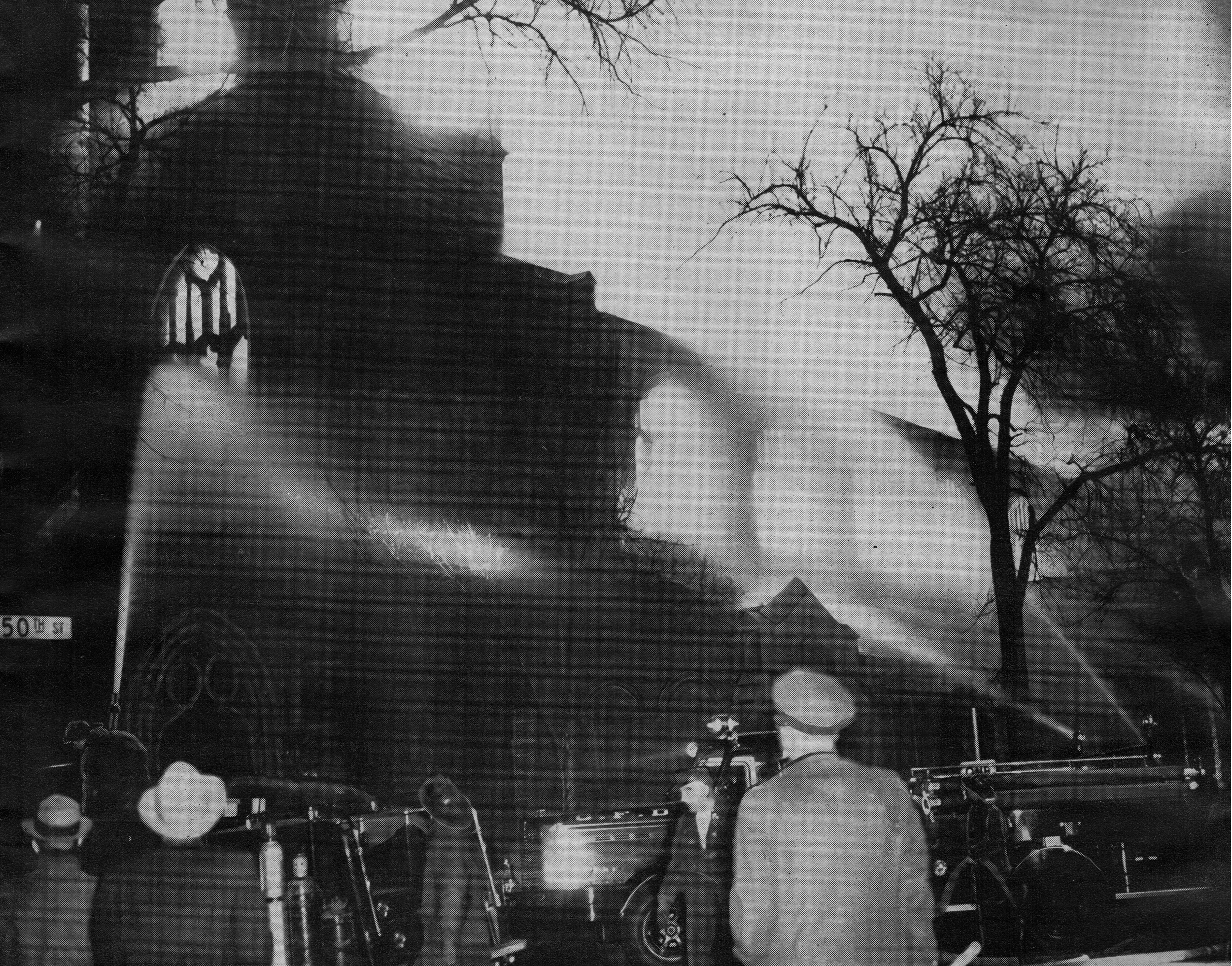The fire that destroyed the St. Paul's building in 1956.