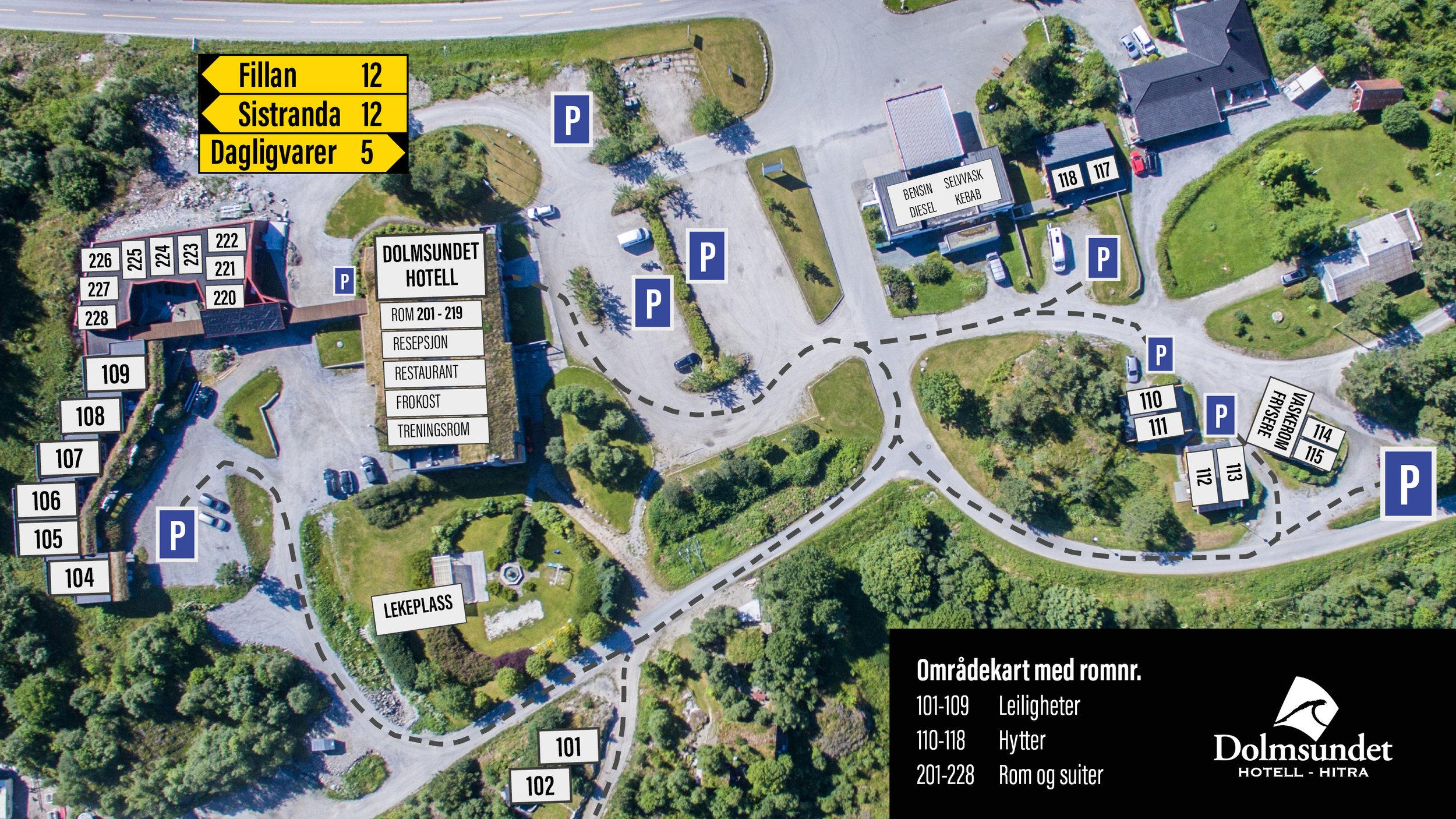 Områdekart med romnummer - Dolmsundet hotell Hitra.