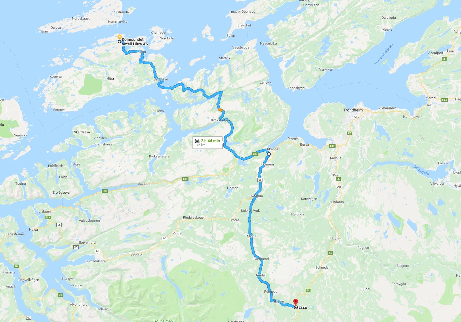 Oversiktskart bil sørfra via E6/RV3, videre E39 til Dolmsundet hotell. Klikk for større bilde.