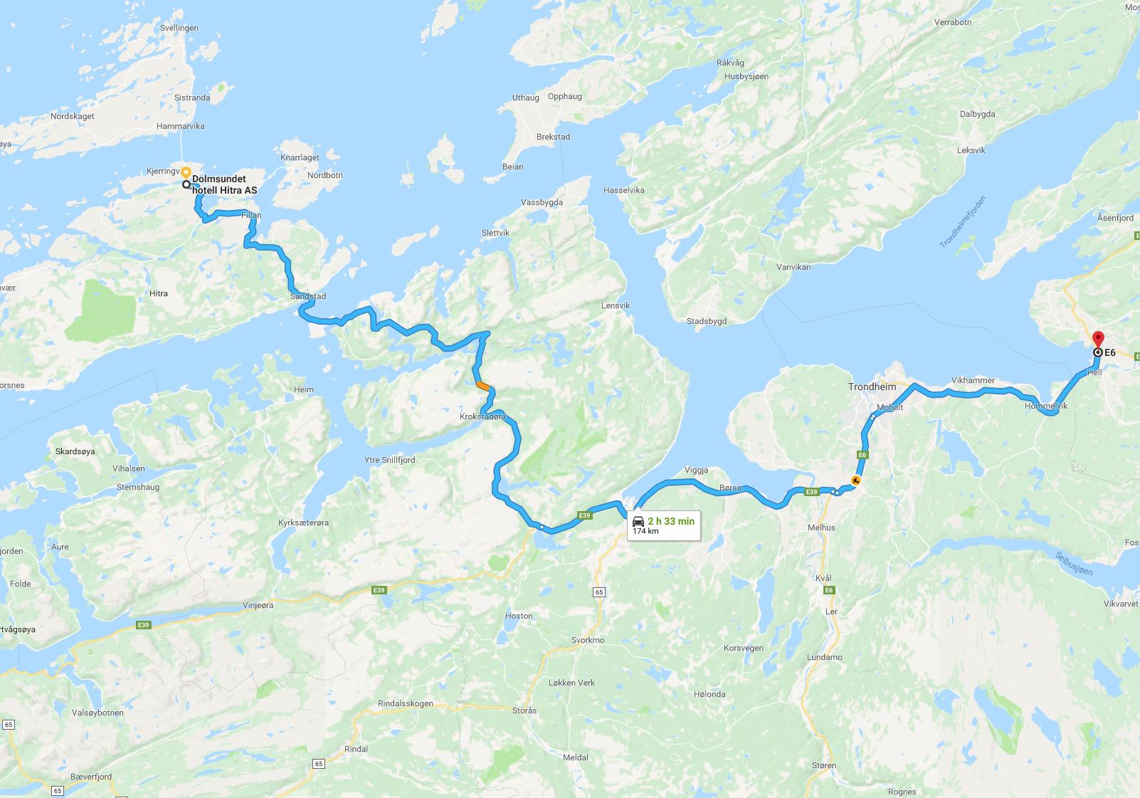 Oversiktskart bil nordfra via E6/E39 til Dolmsundet hotell. Klikk for større bilde.