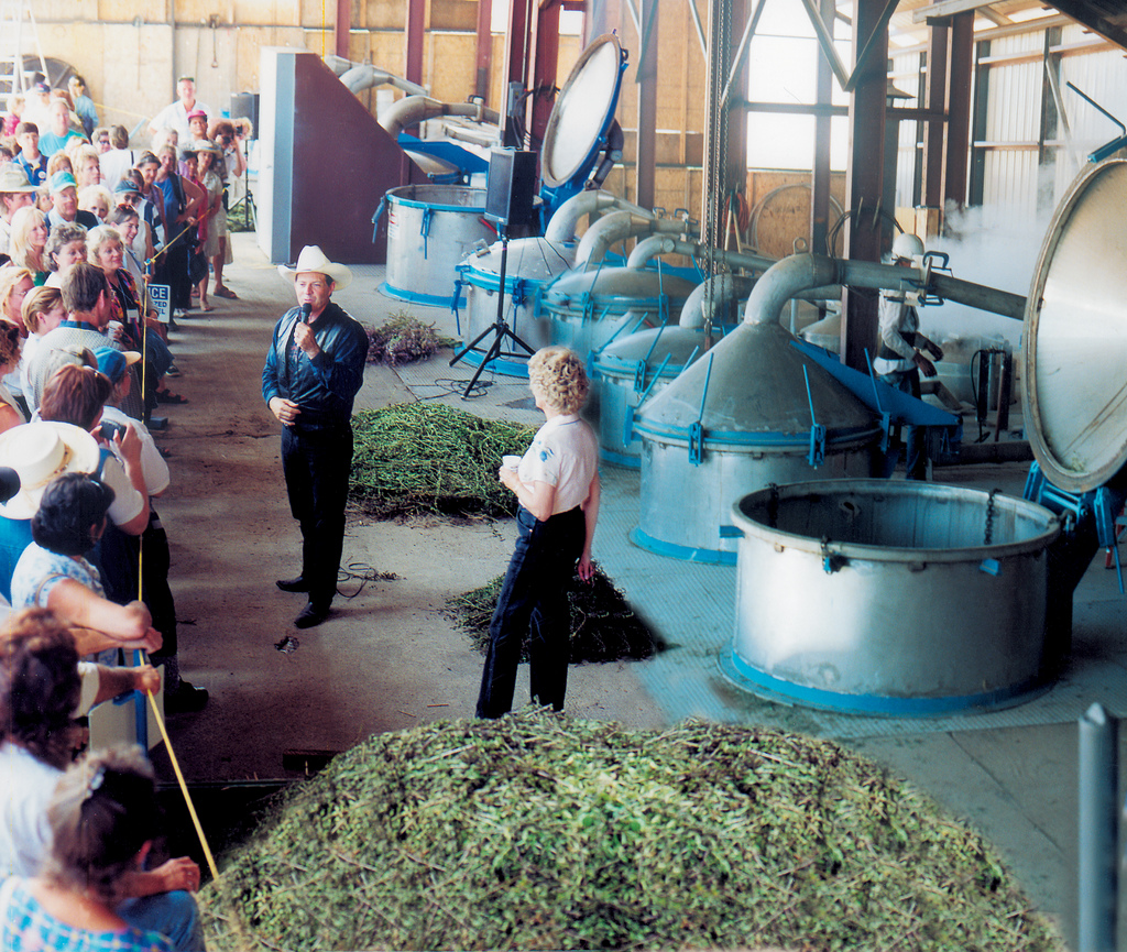 Gary Young, giving a tour of the essential oil distilleries, at the Young Living Lavender Farms in Mona, Utah