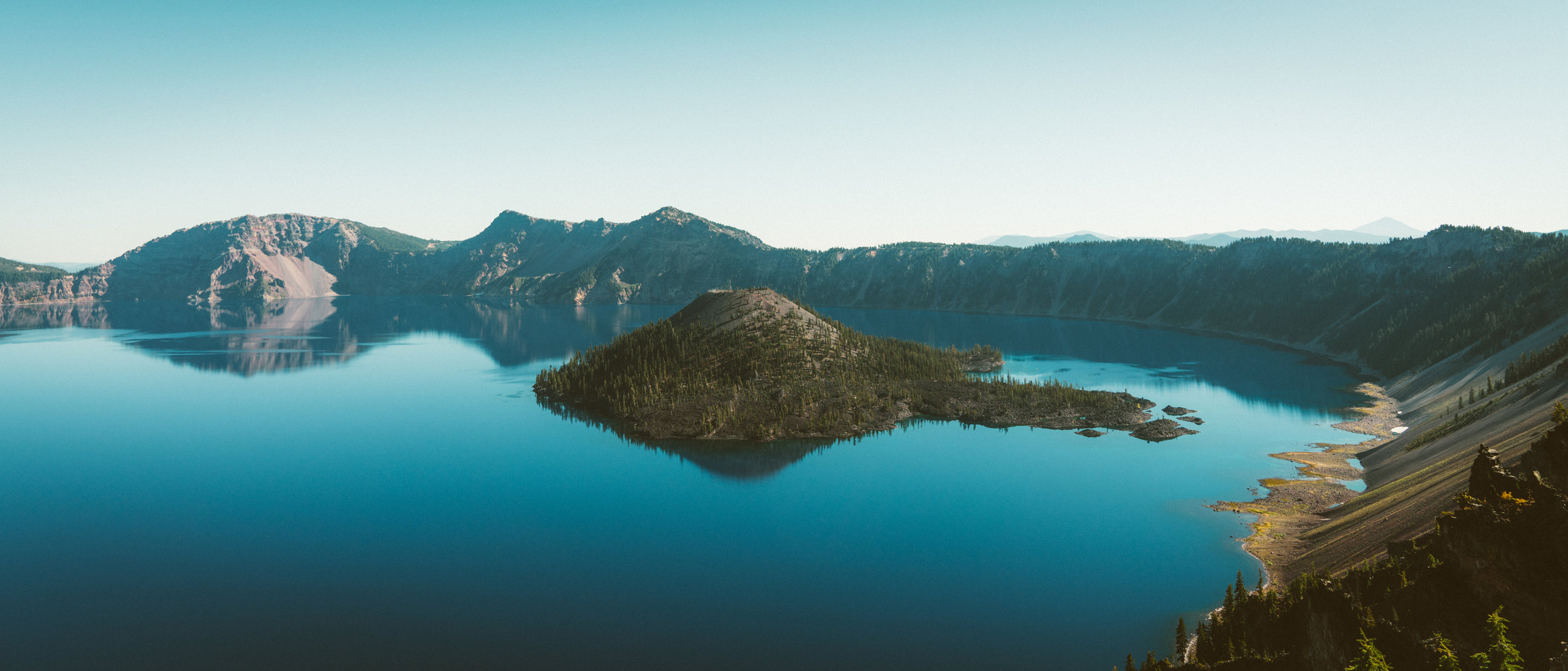 Wizard Island as seen from the rim of Crater Lake.