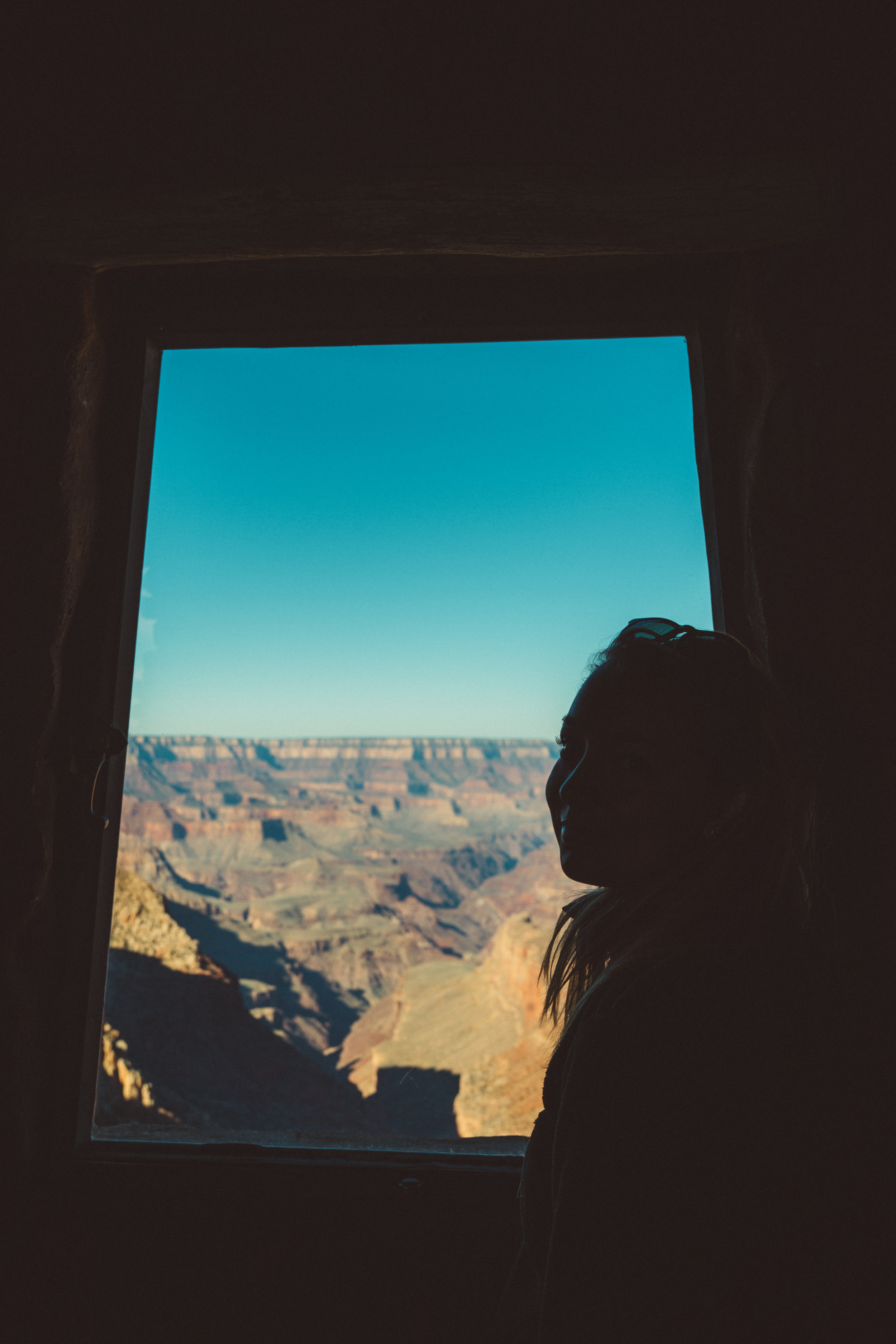 Danielle inside the Desert View Watchtower, Grand Canyon South Rim.