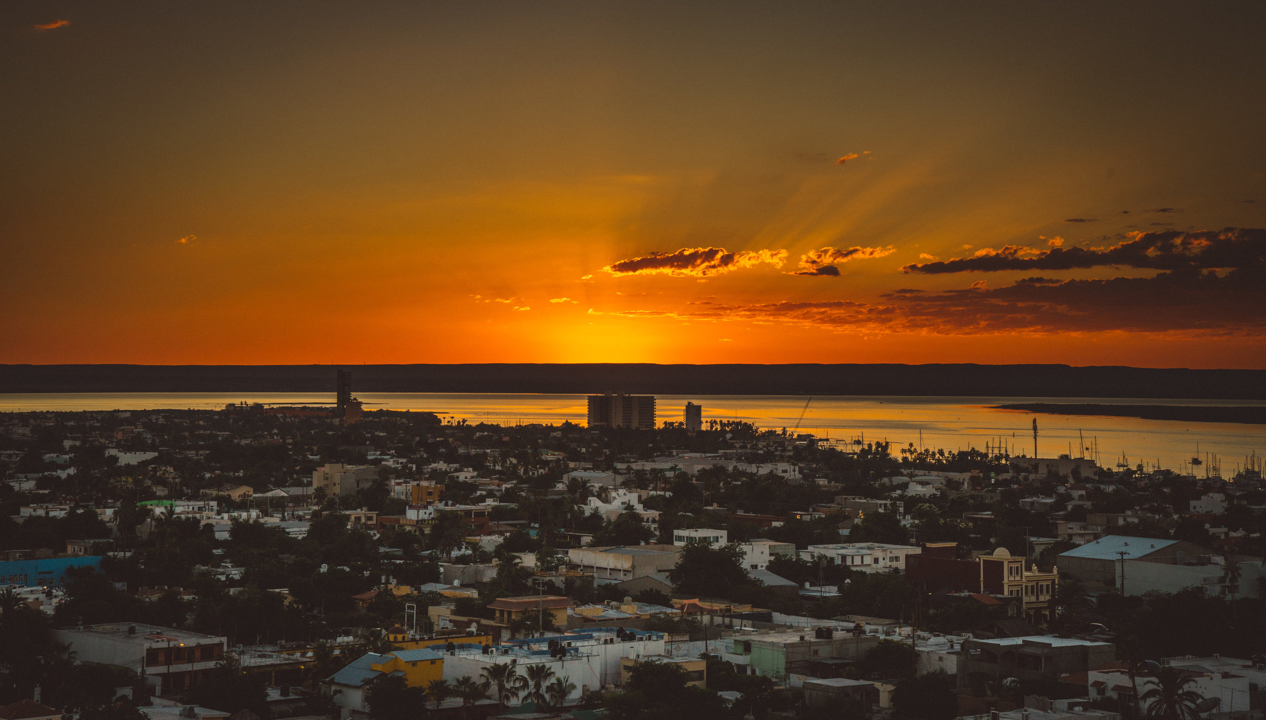 Sunset over La Paz from the roof of Hotel One.
