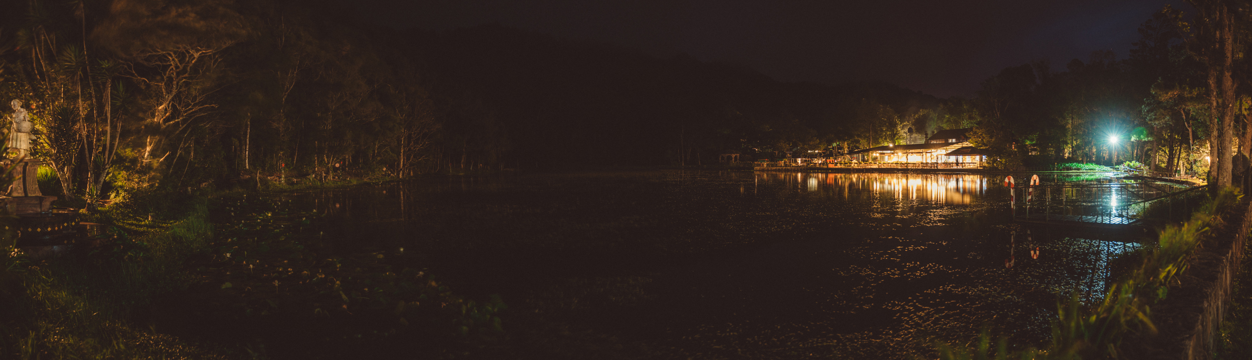 Selva Negra by night; restaurant on the right, just out of frame on the left was the building we stayed in.