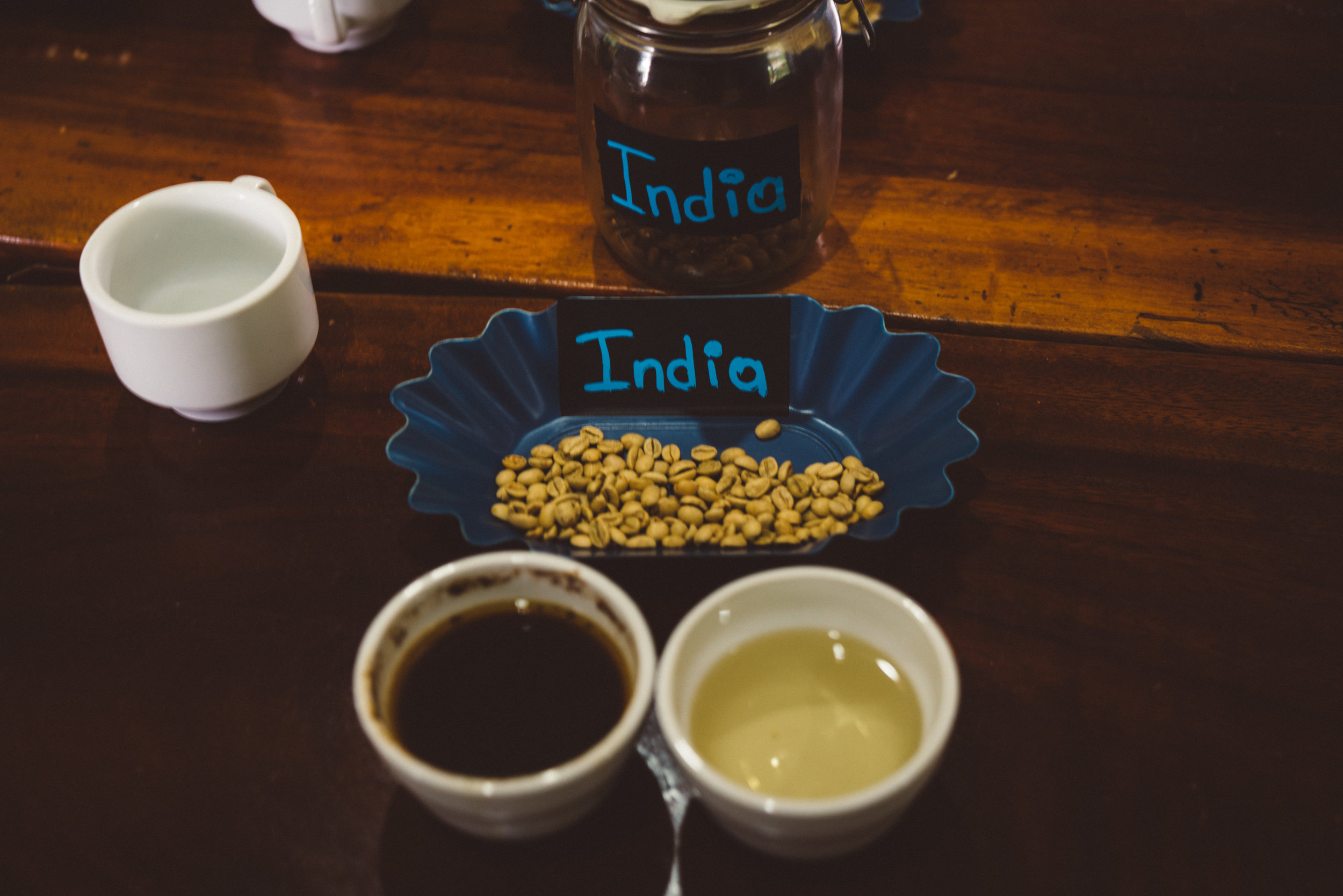 The first coffee we 'cupped' were these Indian beans, which had a very strong and unpleasant burnt taste. Is it a coincidence that the bad tasting coffee they chose was the only non-Nicaraguan one? Hmm...