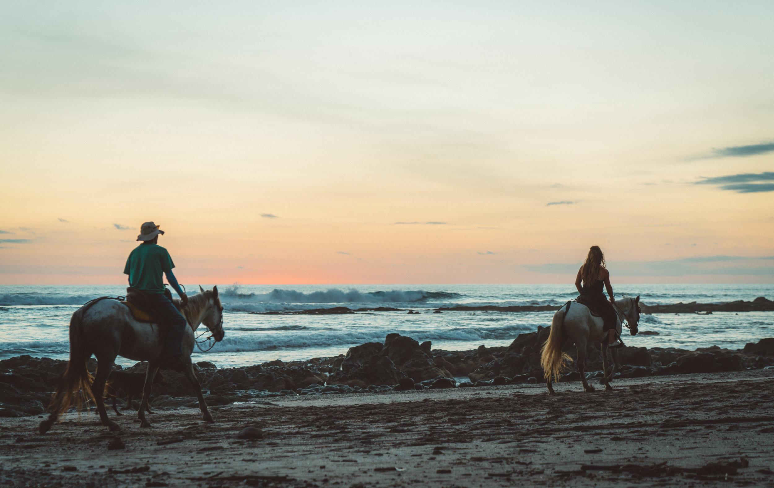 Sunset on the beach in Santa Teresa.