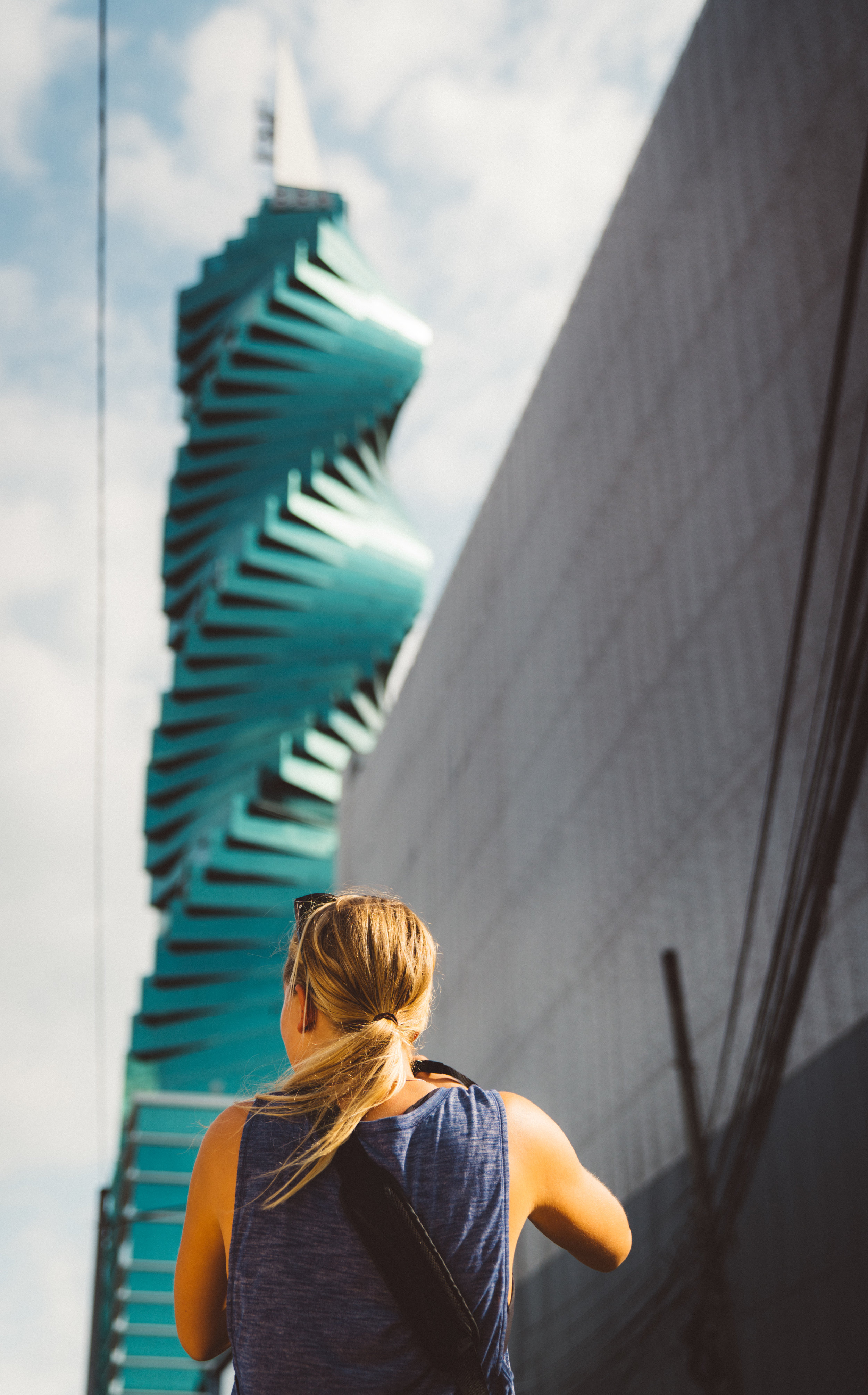 Danielle capturing the iconic F&F Tower.