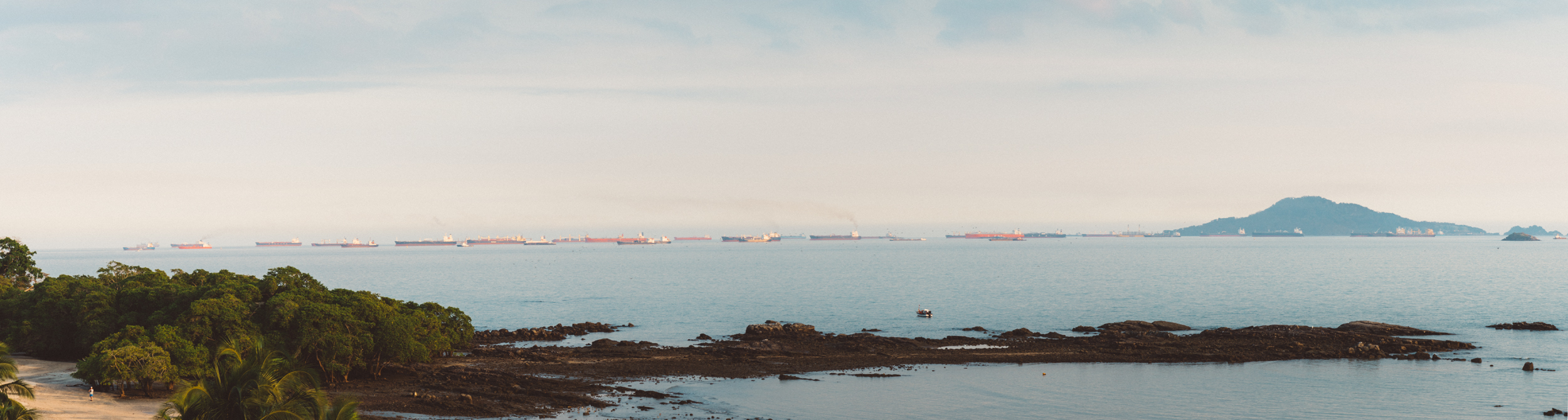 All the ships waiting to get through the Canal.