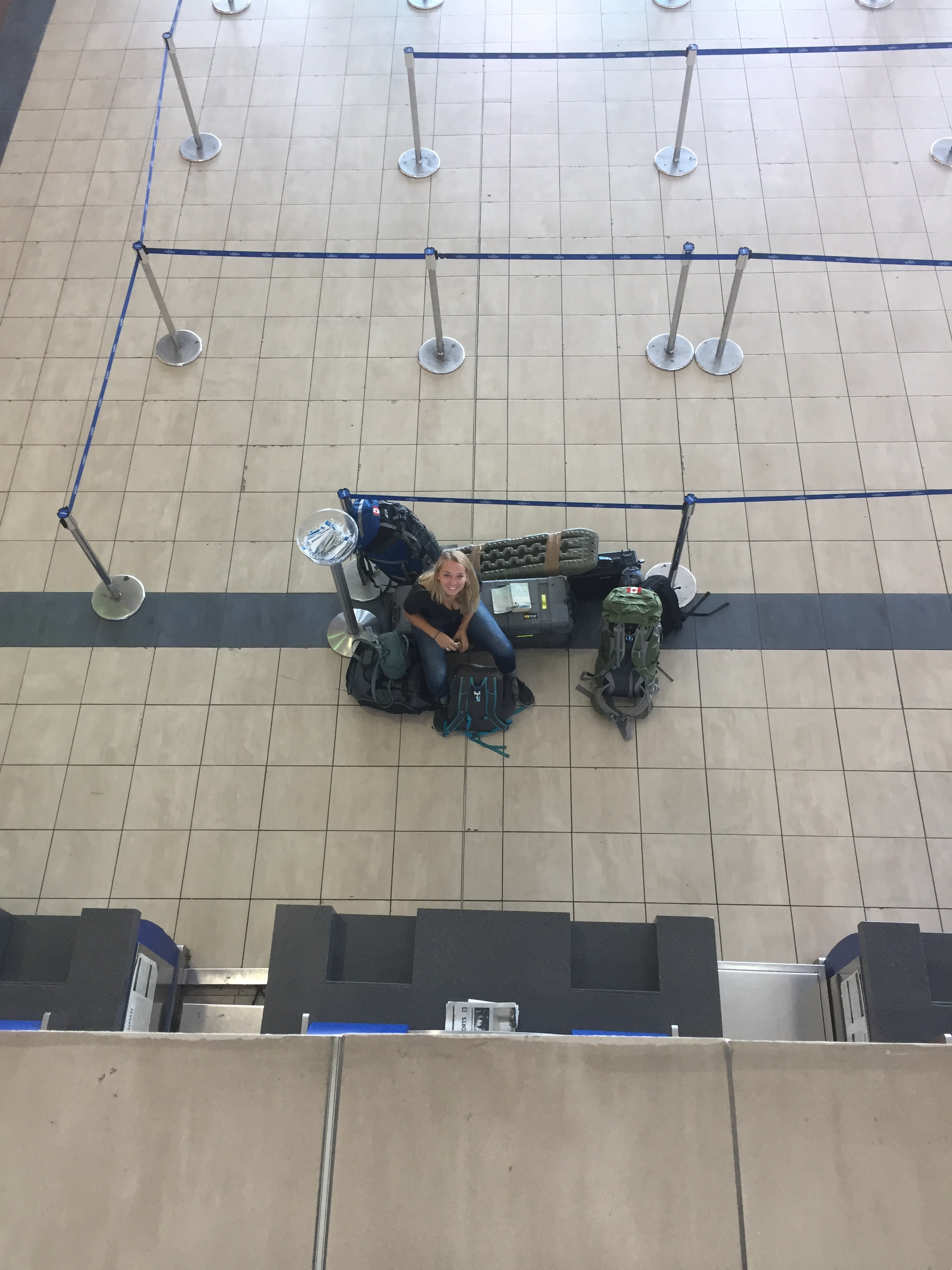 Danielle with all of our baggage waiting to check in to our flight out of Tocumen International.