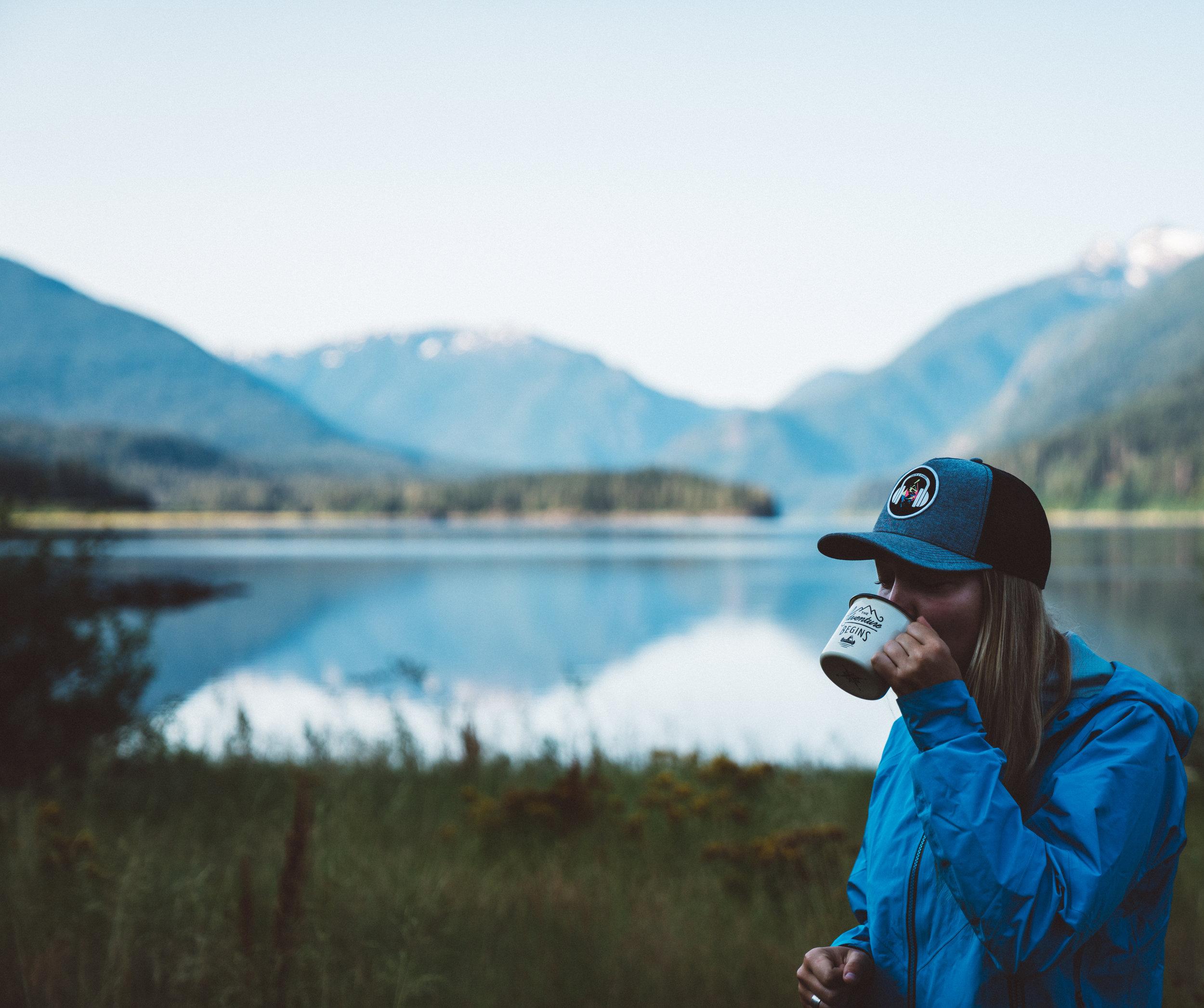 Danielle enjoying her morning coffee.