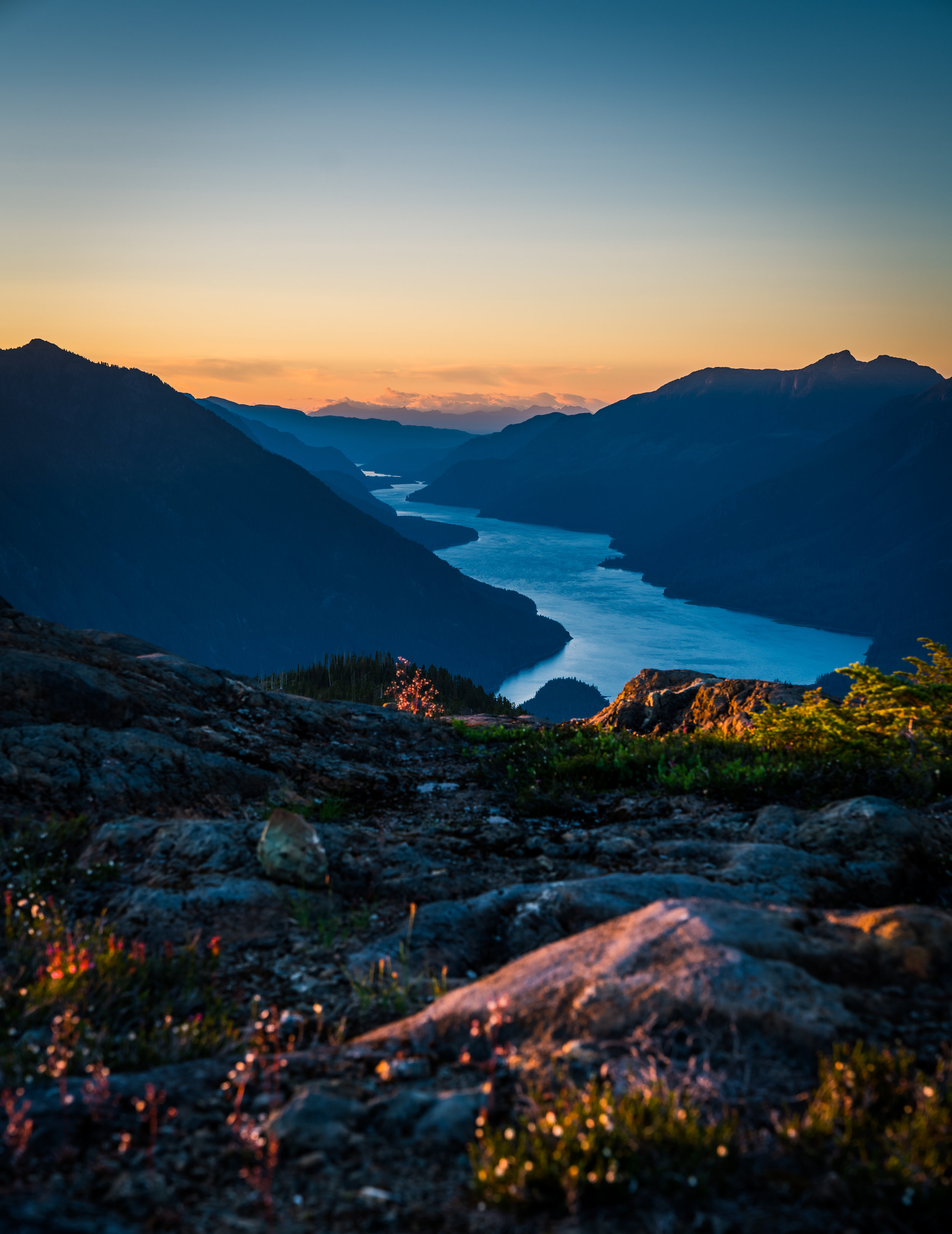 Buttle Lake at sunset from the ridge.