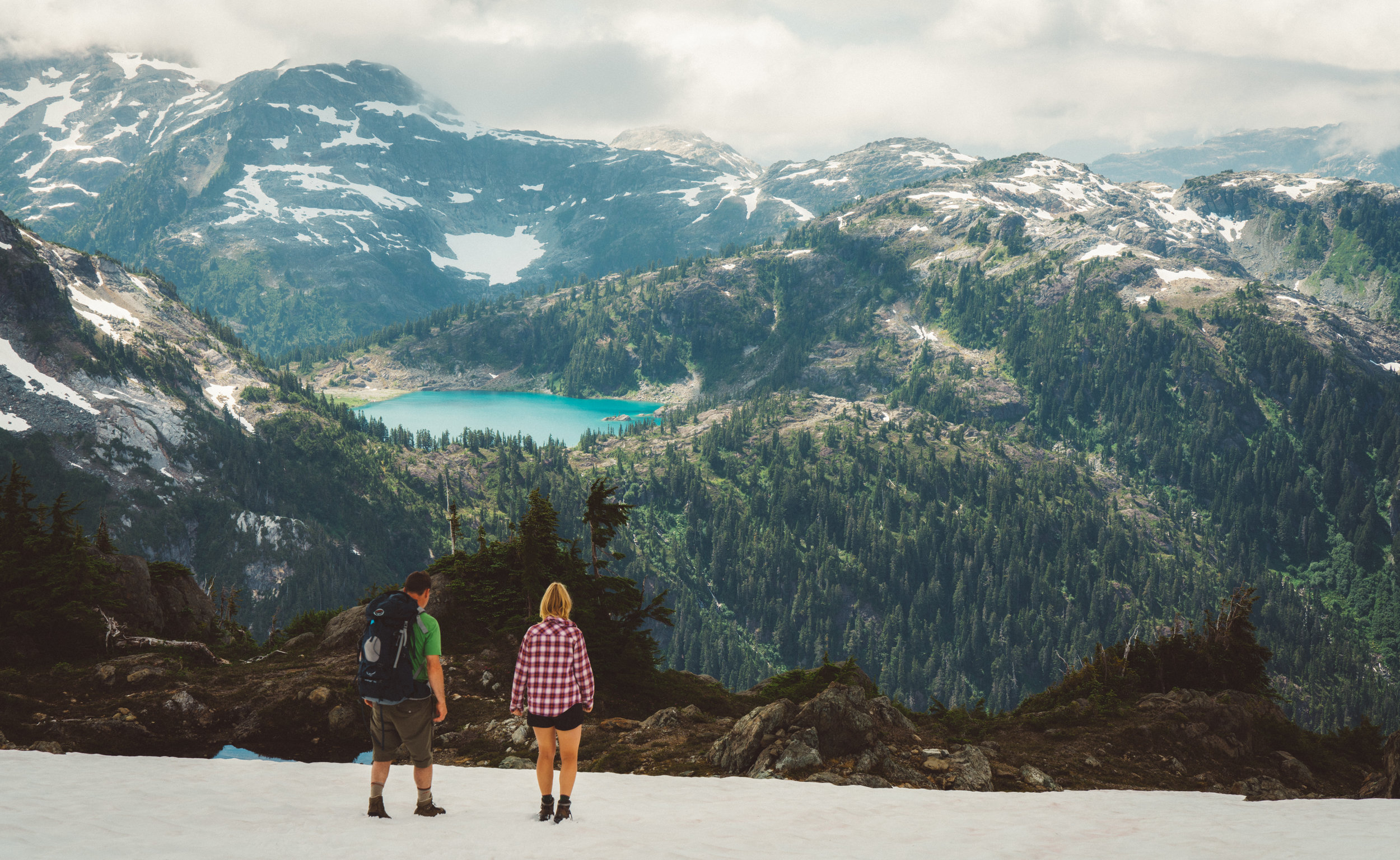 Dirk and Danielle walking down the snowpack.