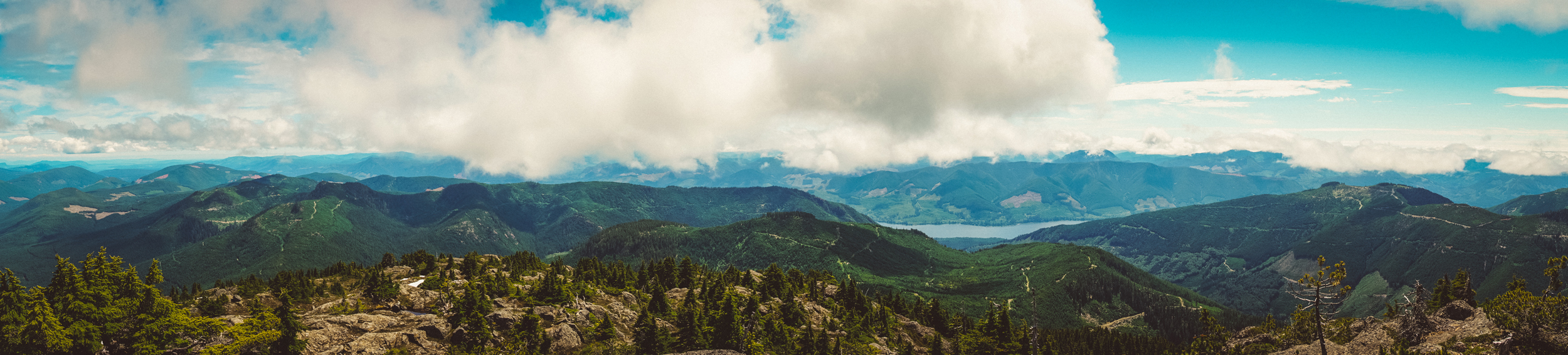 A panorama from the top of Landale with Lake Cowichan visible.