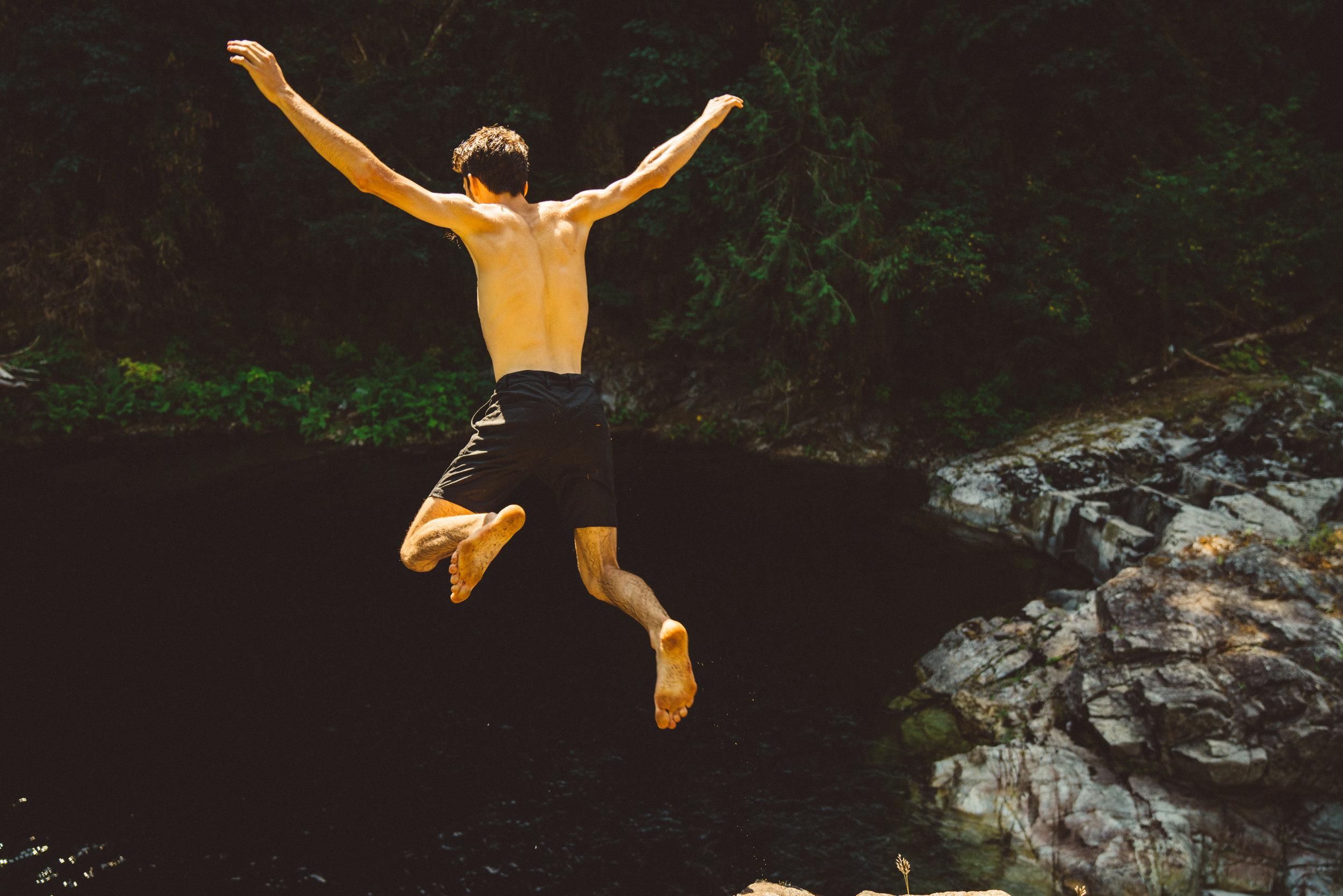 Sam taking a leap.