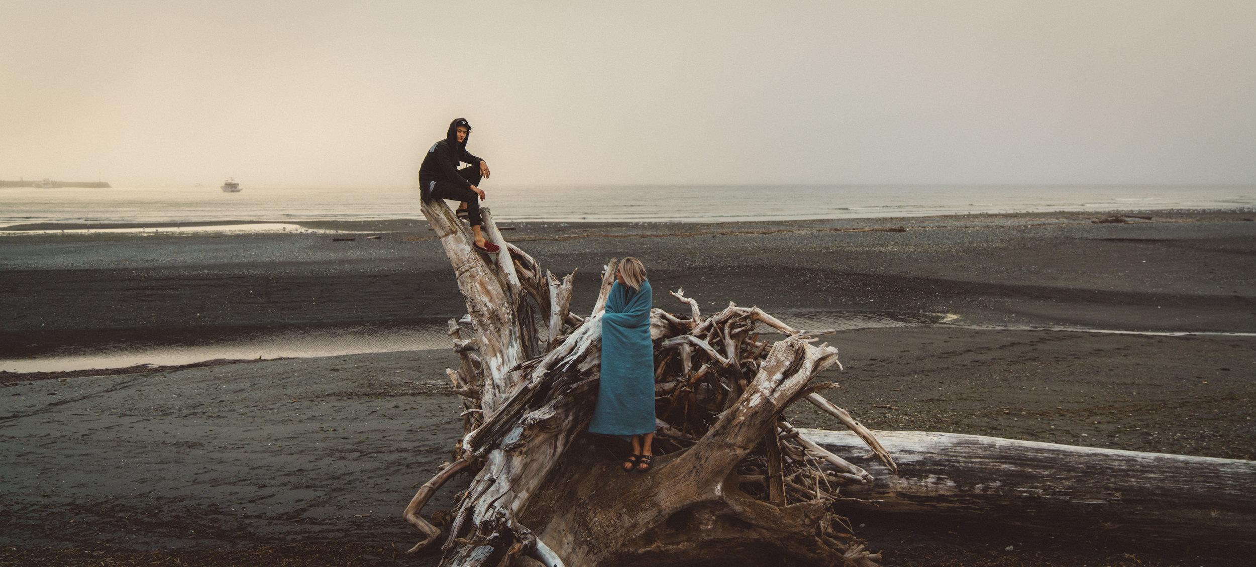 Daria and Vance on the beach in Port Renfrew.