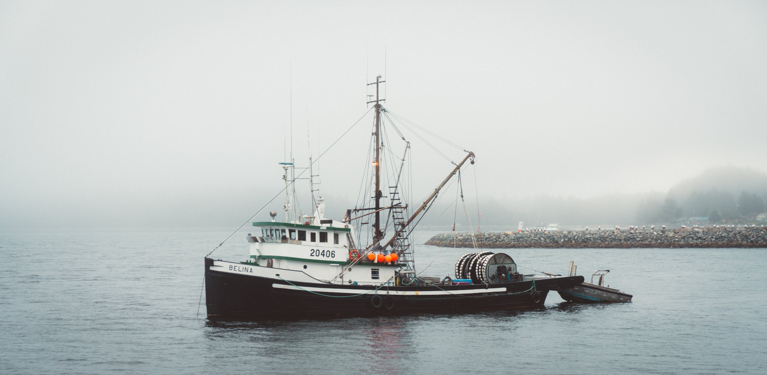 Fishing vessel as seen from our next destination, the wharf.