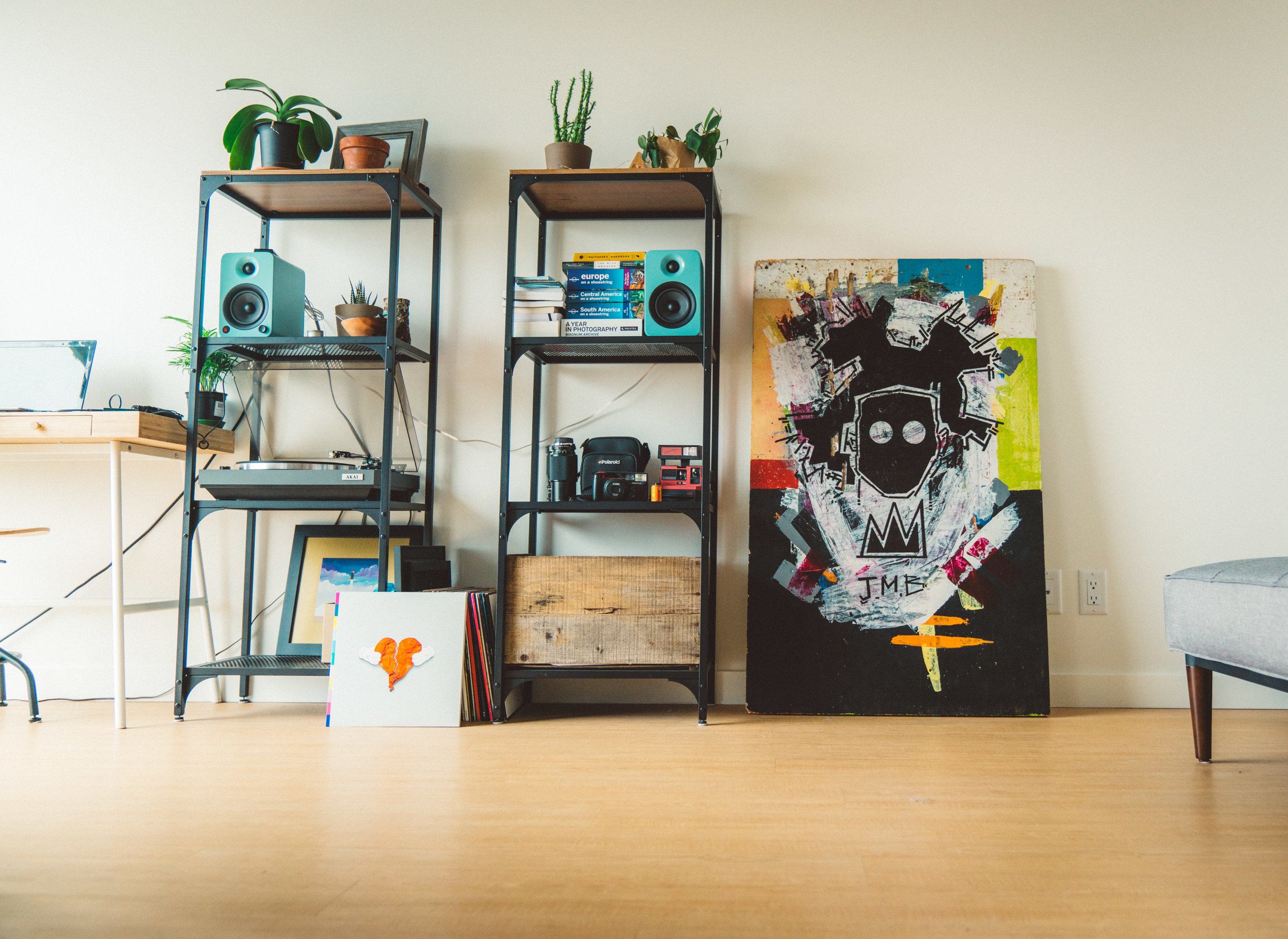 Here's the final product in my apartment. JMB = Jean-Michel Basquiat, one of my favourite artists and who's style Niko's sometimes reminds me of.