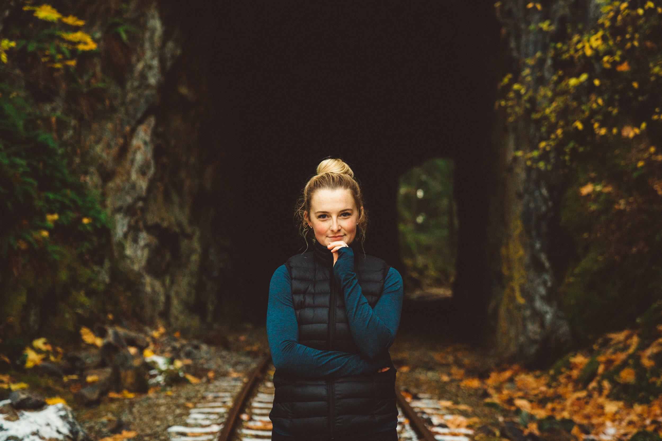 Nov. 5, 2017: Claire near Goldstream Trestle.