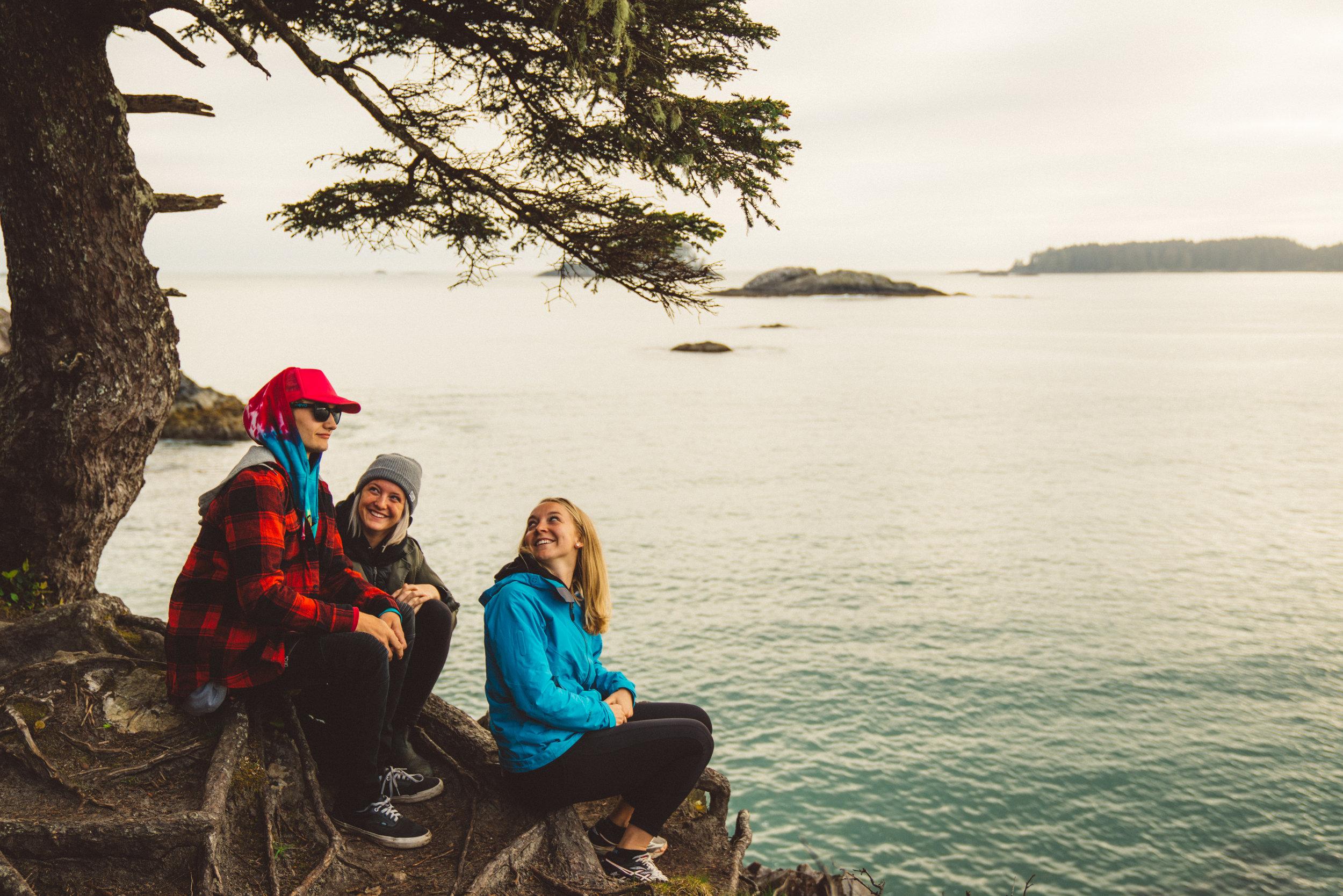Vance, Daria, and Danielle on Mackenzie Beach.