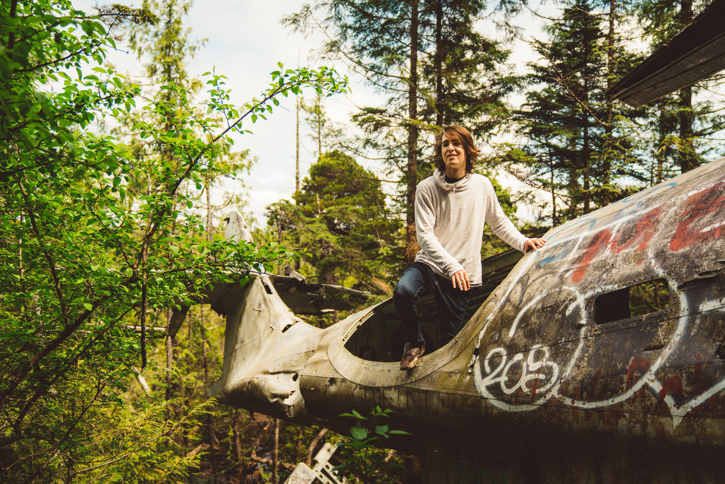 Nolan at the downed plane.