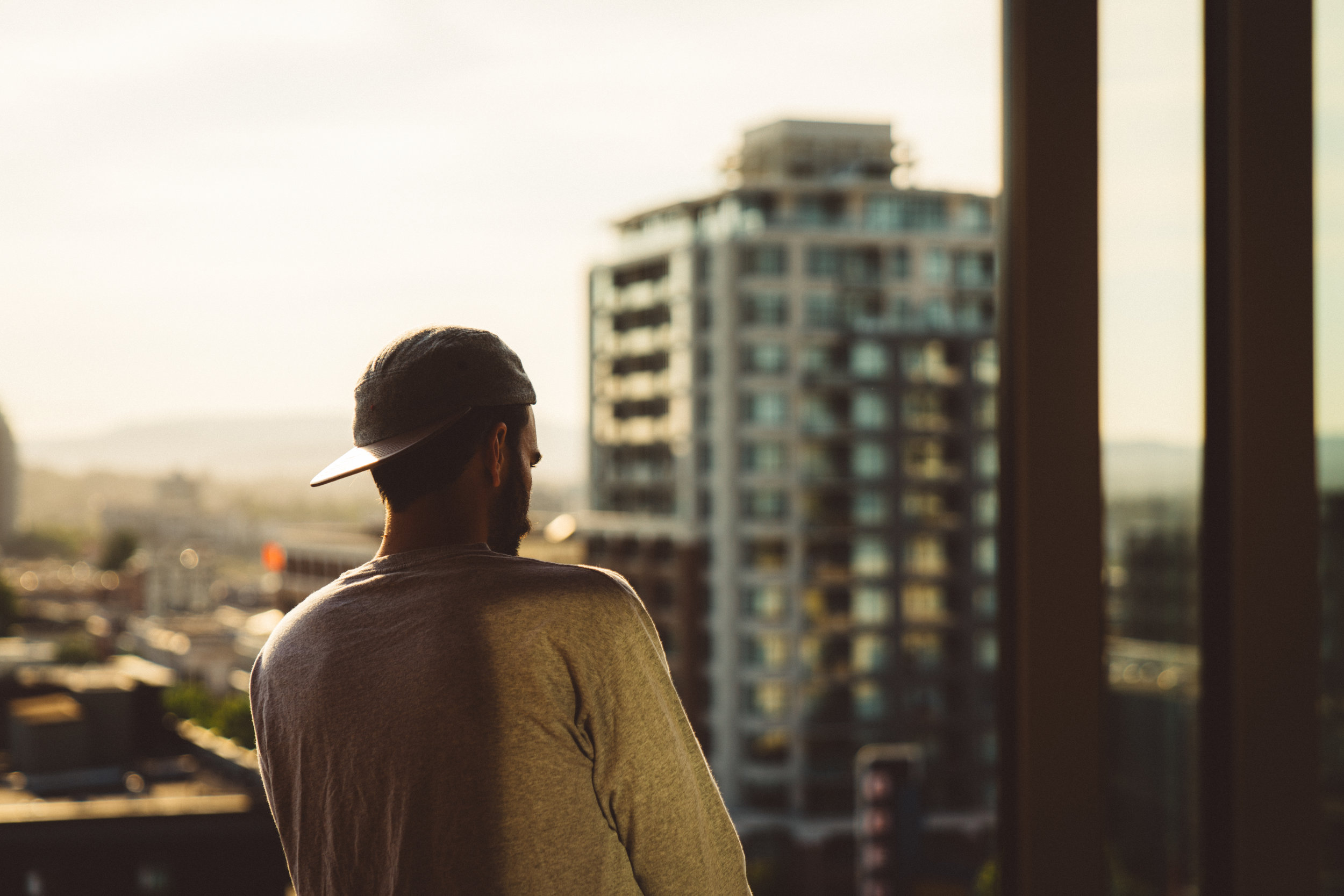 Niko on Katie and Marcus' balcony.