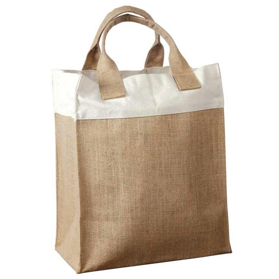Two Tone Burlap Bag