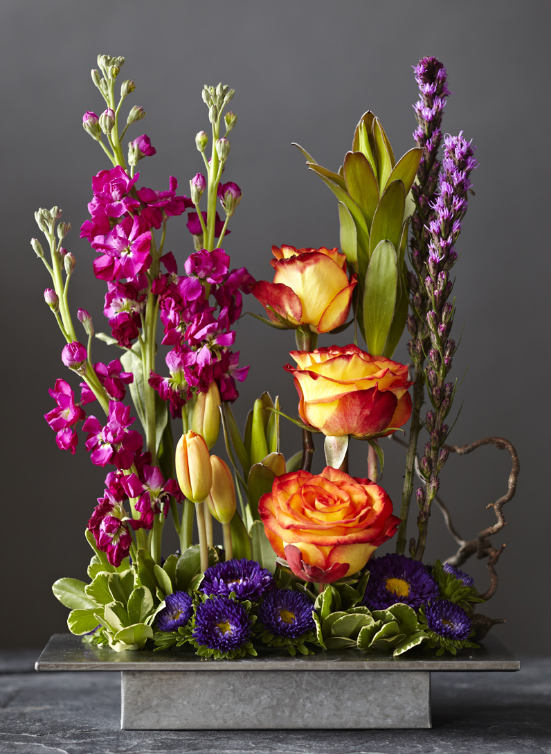 Vivid Hues | Contemporary design featuring stock & cabbage roses
