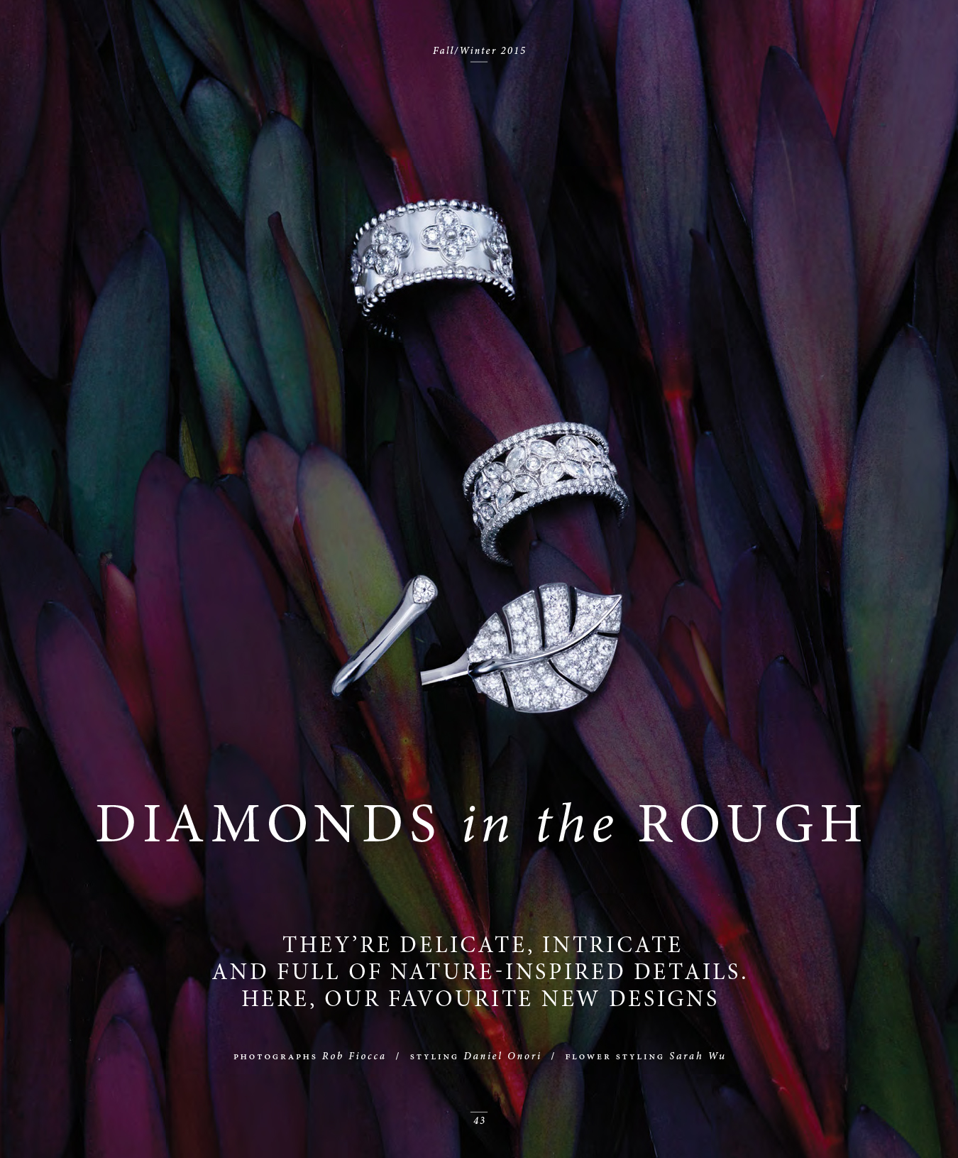 """Diamonds in the Rough.""  Birks1879,  Fall/Winter 2015 .  Art Direction: Nevien Assani. Photo: Rob Fiocca/FUZE Reps. Styling: Daniel Onori/Plutino Group"