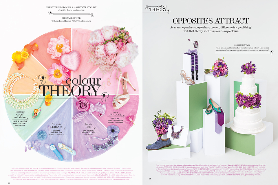 """""""Colour Theory.""""  WedLuxe Magazine,  Spring/Summer 2014. Photos: T.H. Jackson Huang, Iconica.Styling: Jeanie Lee/Plutino Group"""