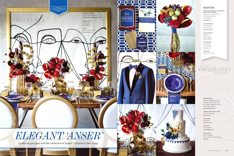 """Elegant Anser"".  WedLuxe Magazine,  Winter/Spring 2014. Photos: Found In Love. Art: Anser.Event Design: Oui Design Co. Styling: The Loved One.Cake Design: SweeterE"