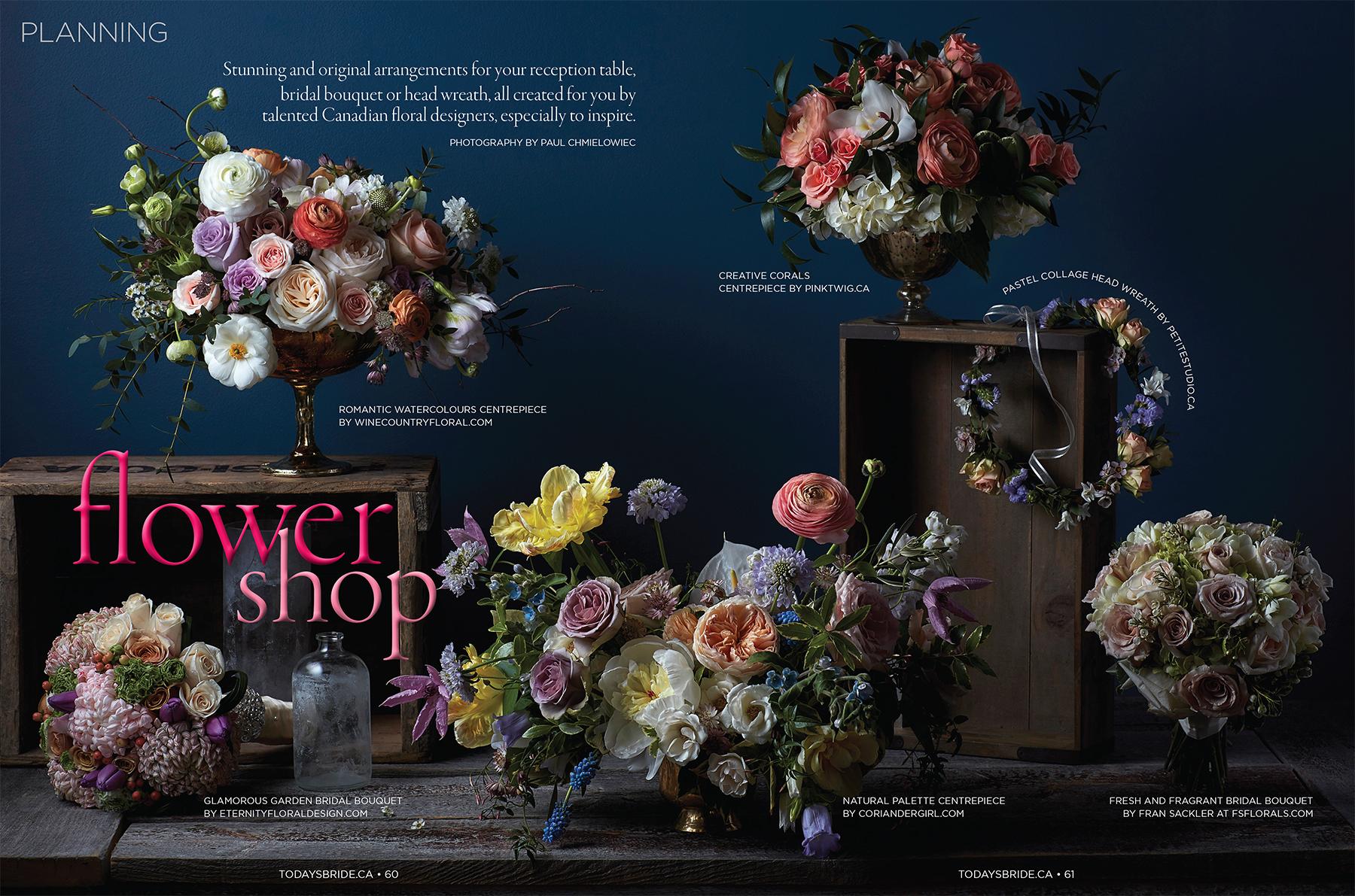 """Flower Shop."" Today's Bride , Fall/Winter 2016.Photo: Paul C. Art Direction: Susan Rogers"
