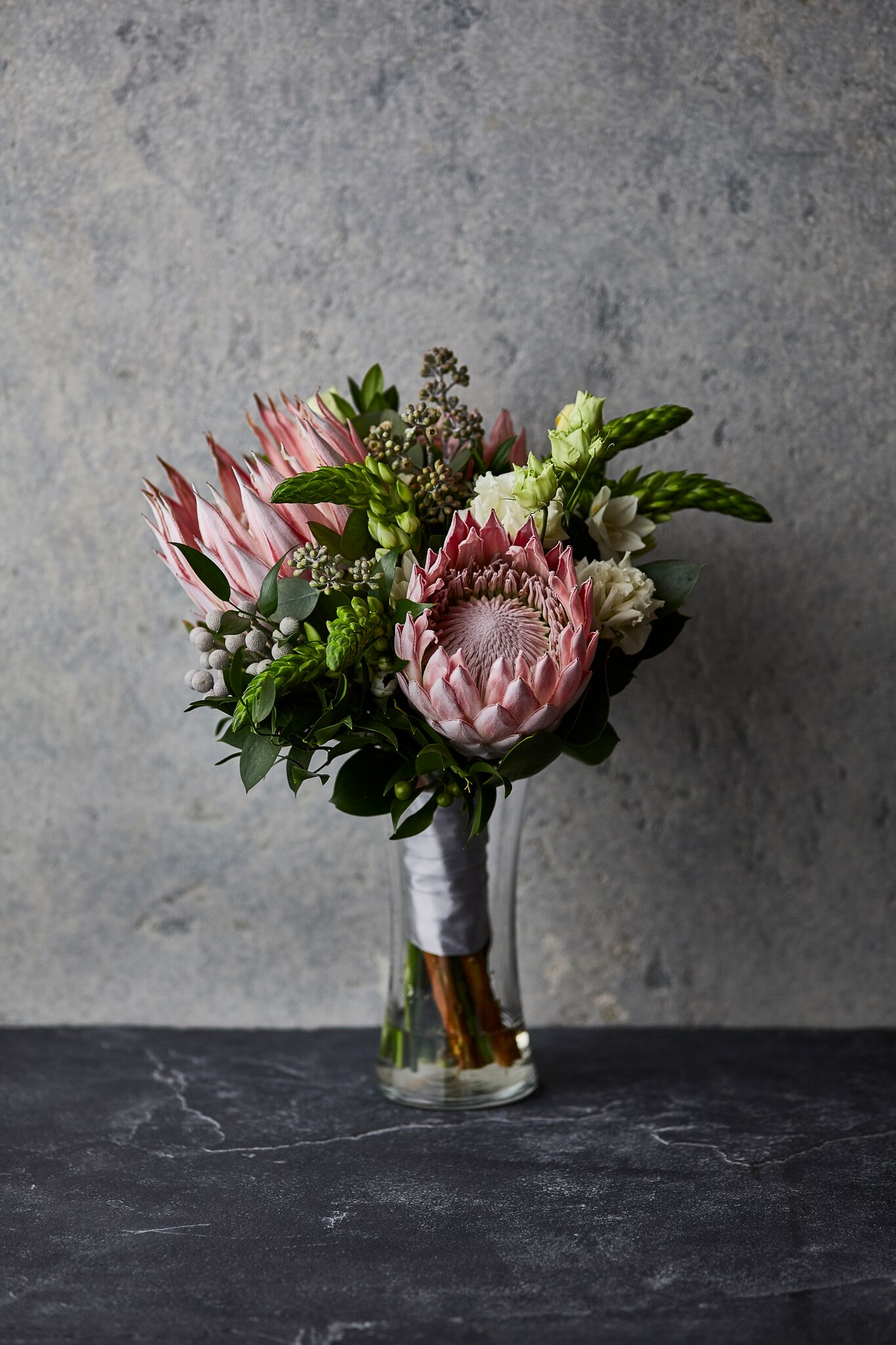 Contemporary | Bridal bouquet featuring exotic king protea blooms