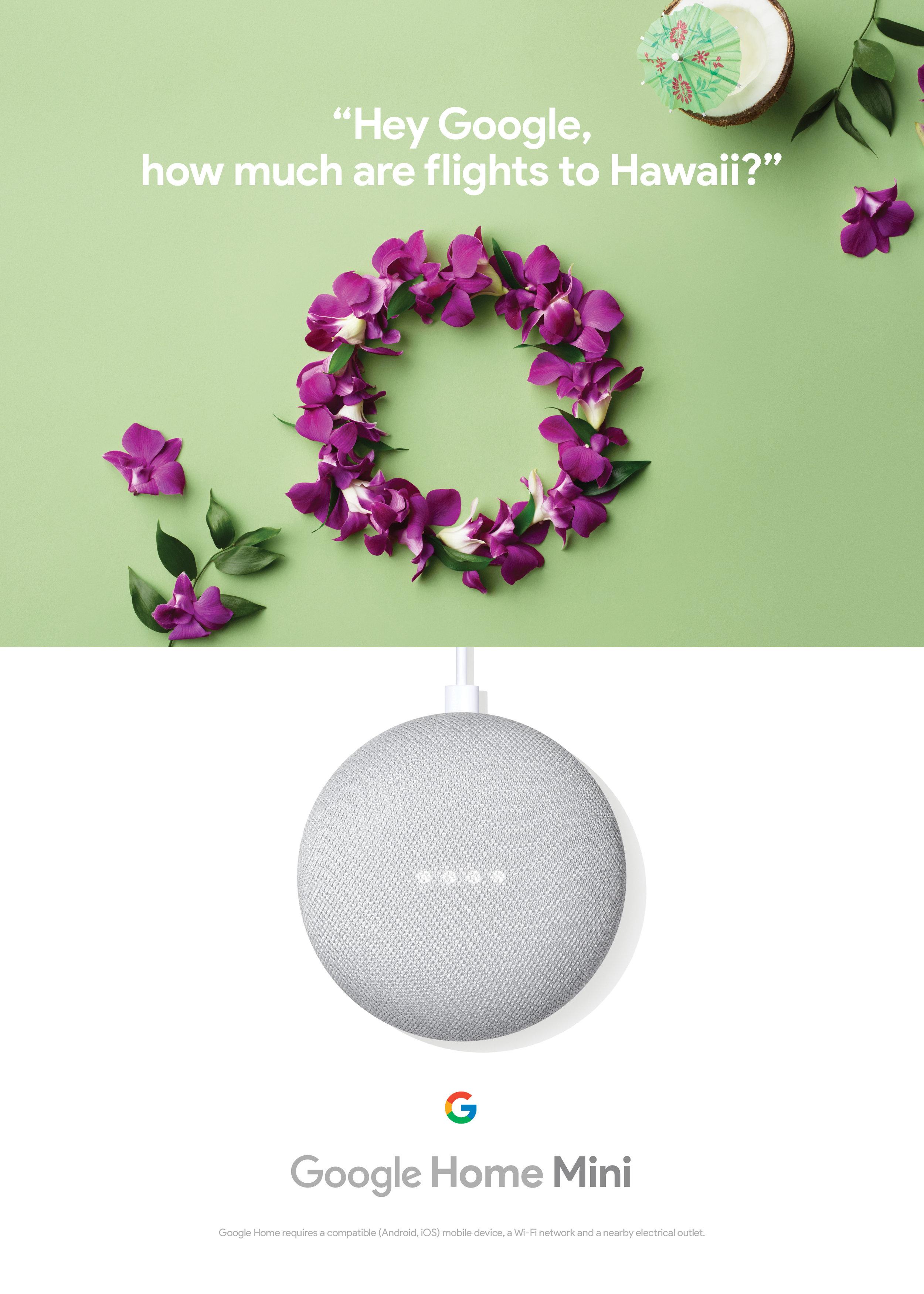 Google Home Mini Print Campaign, 2017.Photo: Vicky Lam/Westside Studio. Styling: Jeanie Lee/Plutino Group.Agency: Cossette. Art Direction: Natasha Michalowska