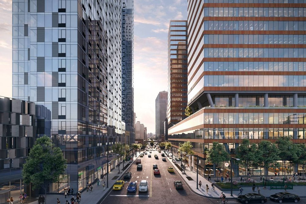 Rendering of Tishman Speyer's planned residential (left) and commercial (office) developments on Jackson Avenue in Long Island City (credit: Tishman Speyer)