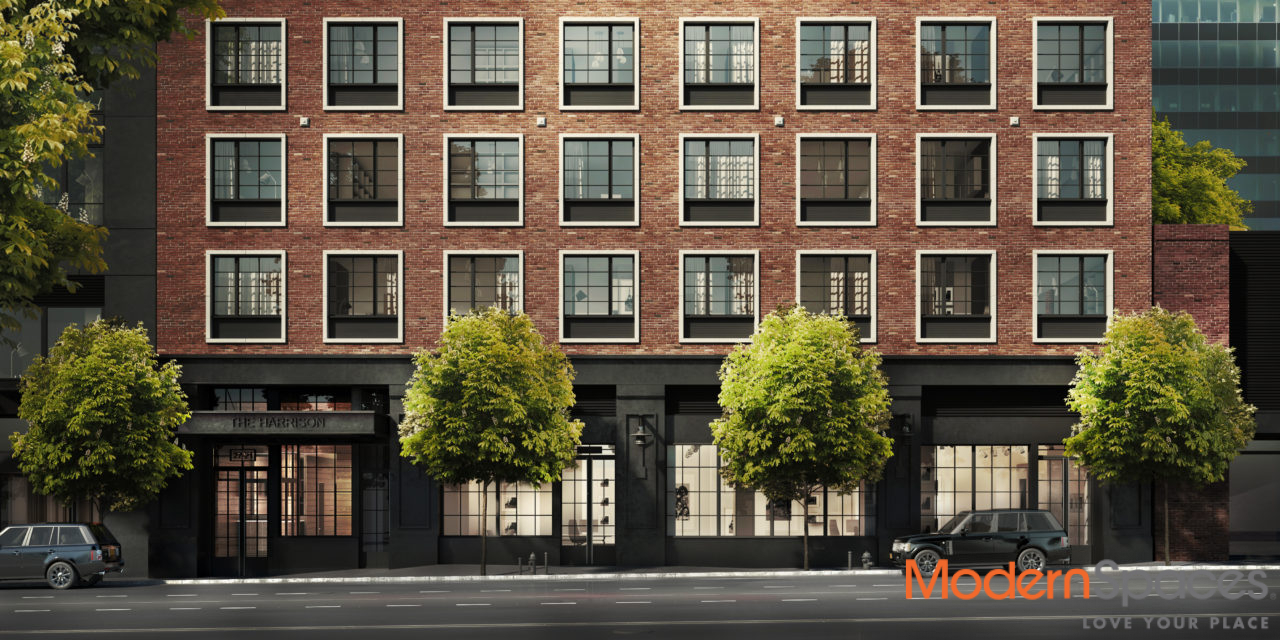 Rendering of the Harrison, at 27-21 44th Drive in Long Island City (credit: Modern Spaces)