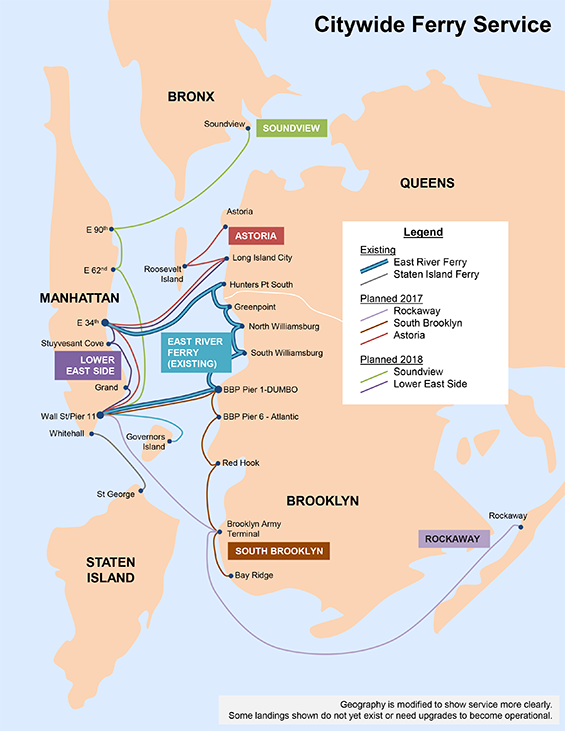 Citywide Ferry service route map (credit: NYC EDC)